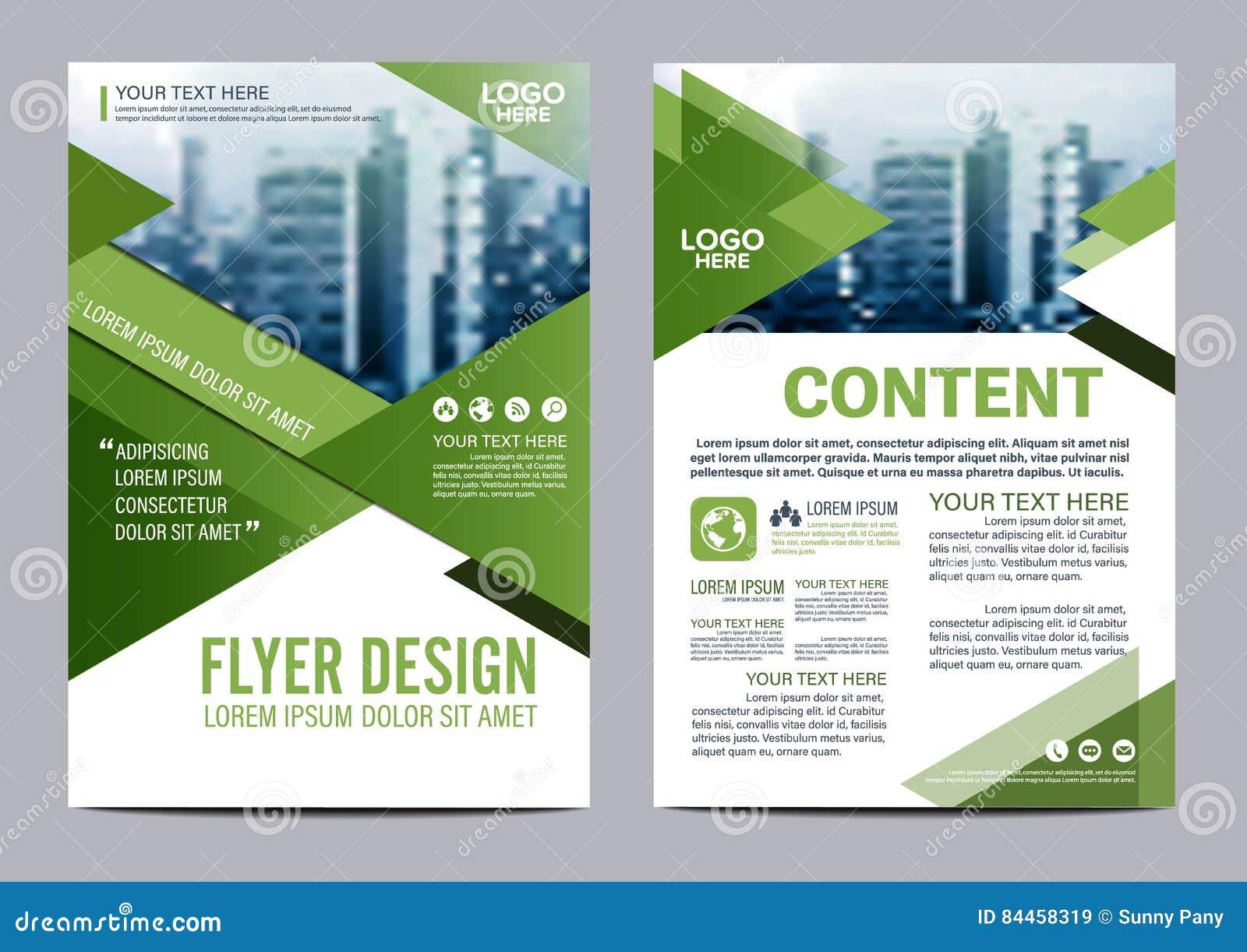 Plantilla del diseño de la disposición del folleto del verdor Presentación de la cubierta del prospecto del aviador del informe a
