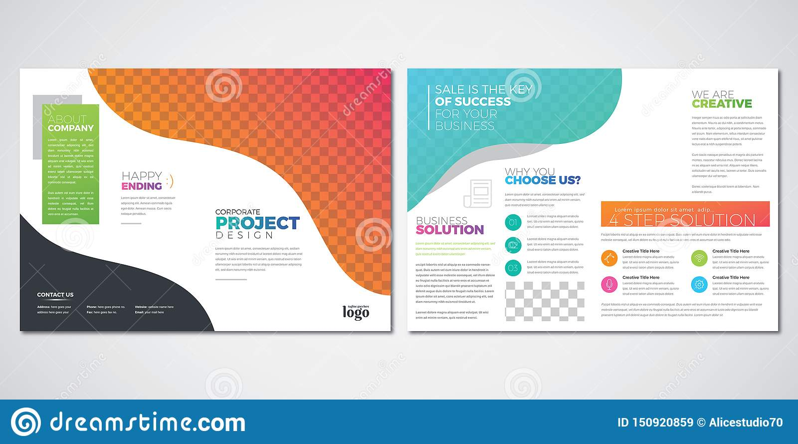 Plantilla del diseño de la disposición del folleto, vector colorido del doblez del BI