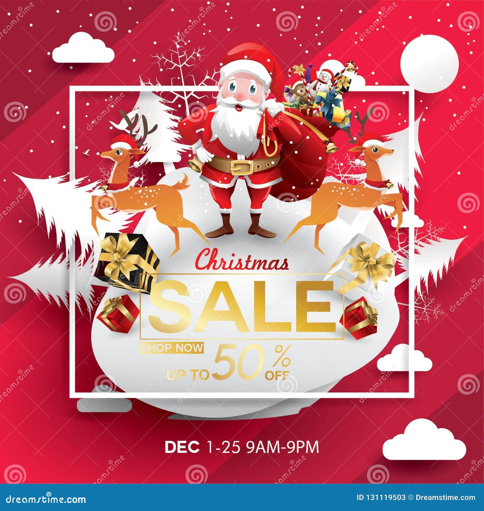 Plantilla del diseño de la estación de la venta de la Navidad arte de papel y estilo digital del arte tarjeta de felicitación del