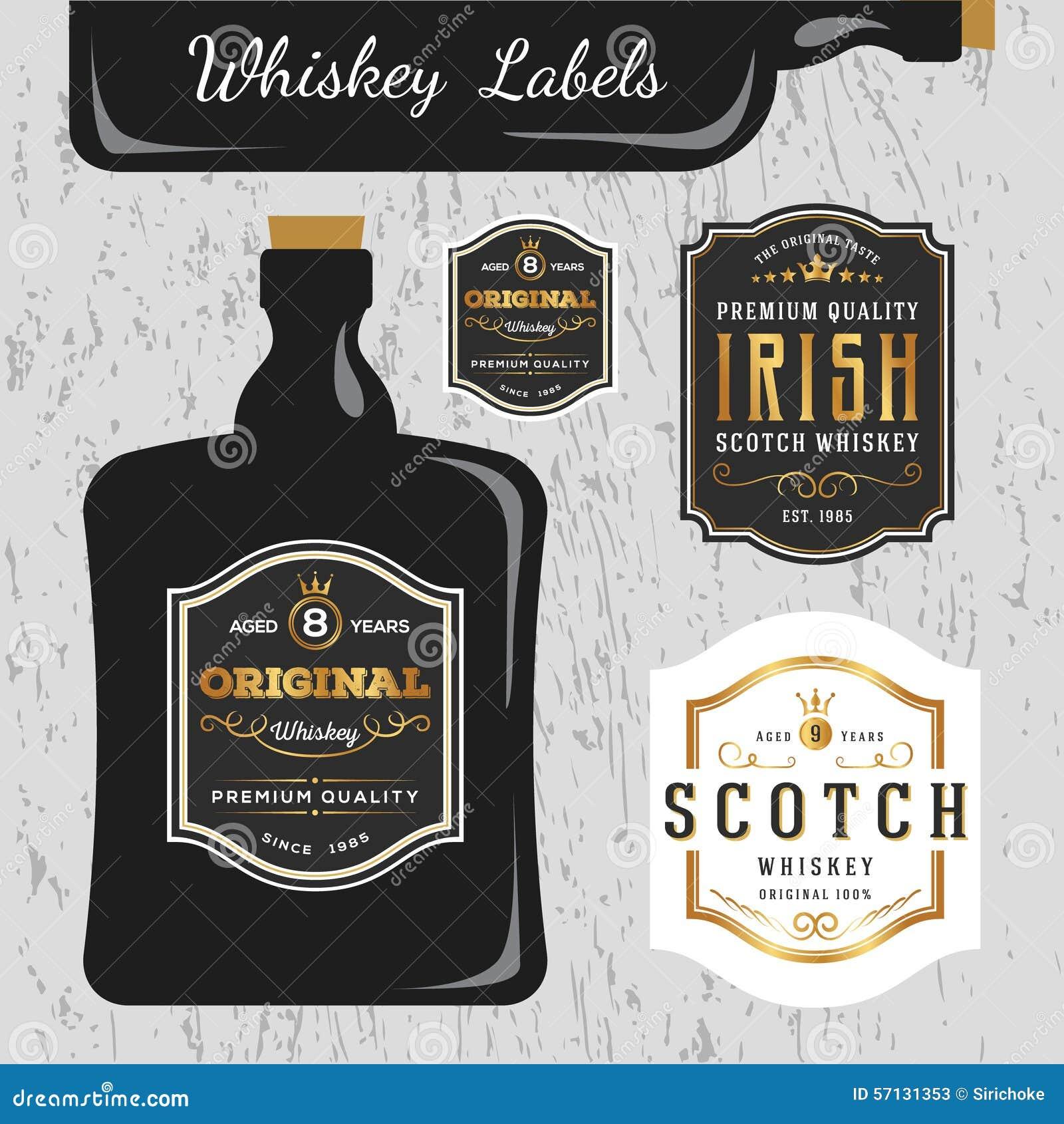 Plantilla Del Diseño De La Etiqueta De Marcas Del Whisky Ilustración ...