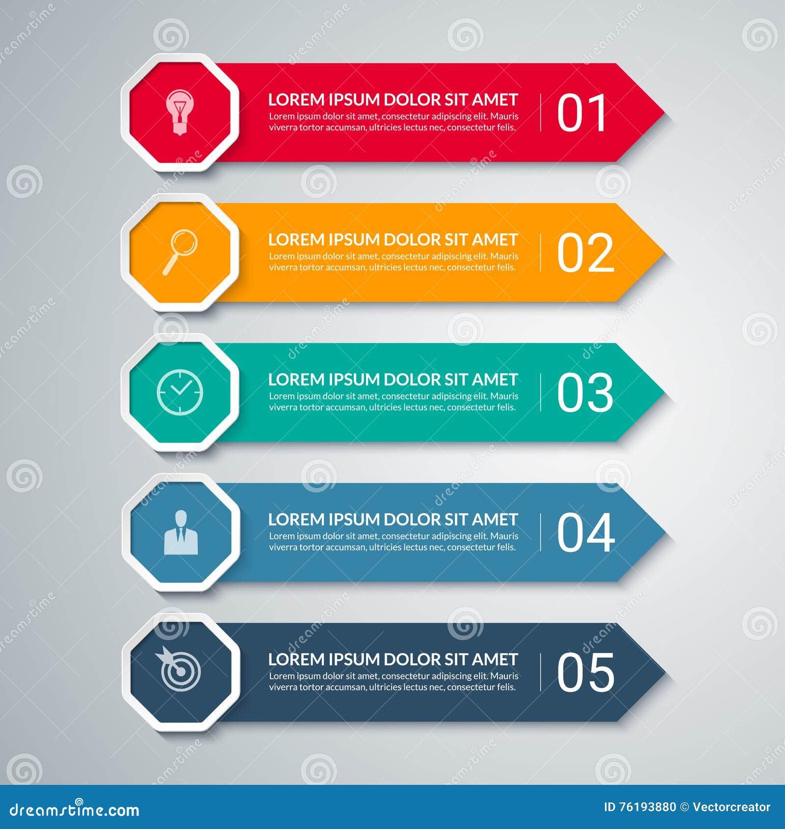 Plantilla del diseño de la flecha de Infographic con 5 opciones