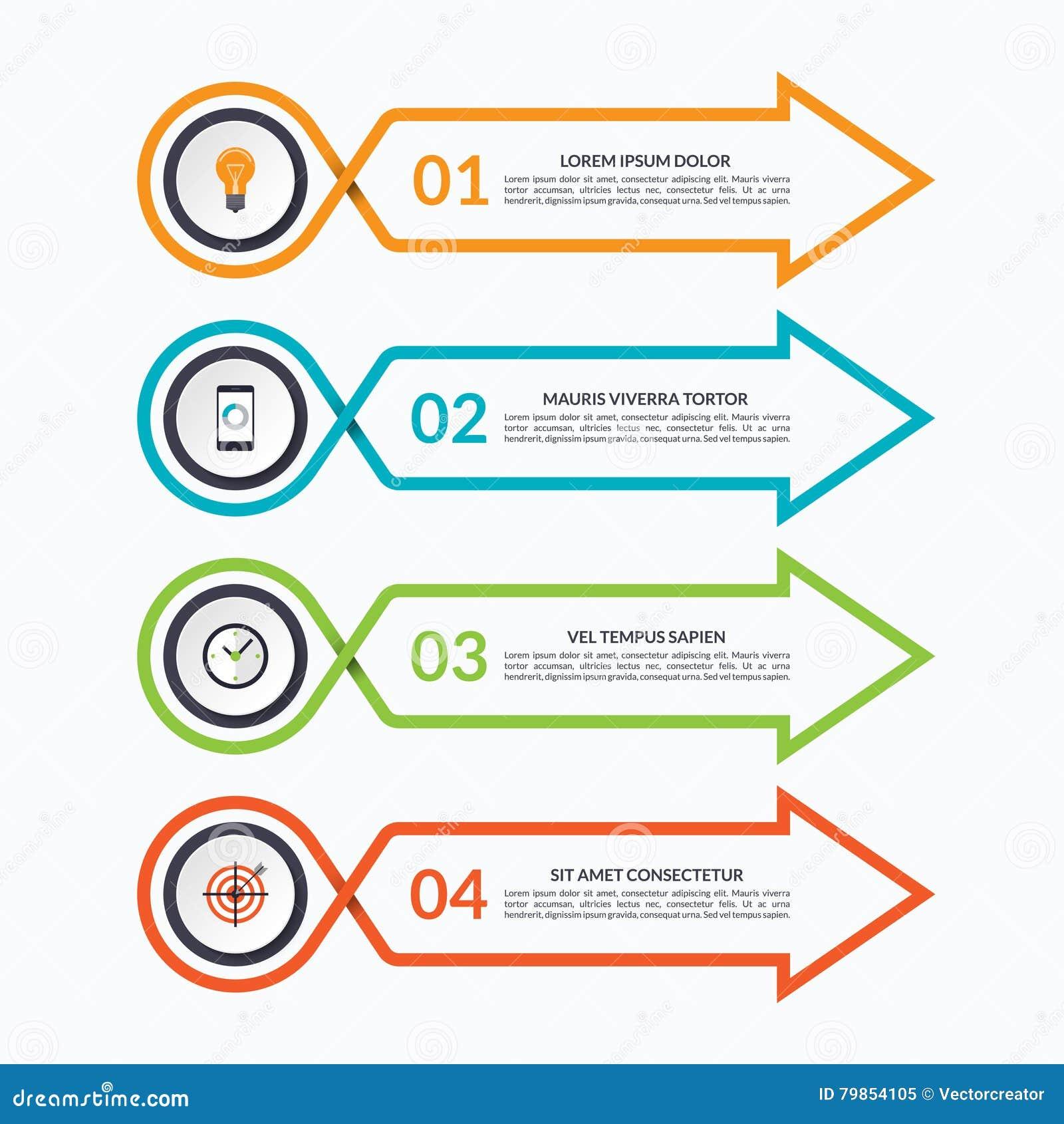 Plantilla del diseño de la flecha de Infographic con 4 opciones