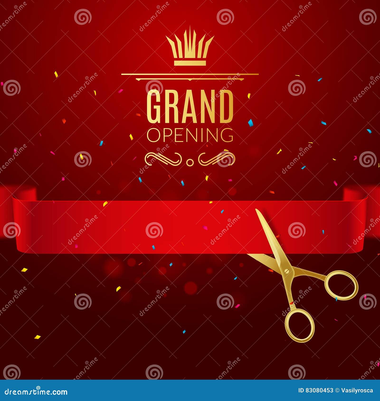 Plantilla del diseño de la gran inauguración con la cinta y las tijeras Concepto abierto magnífico del corte de la cinta