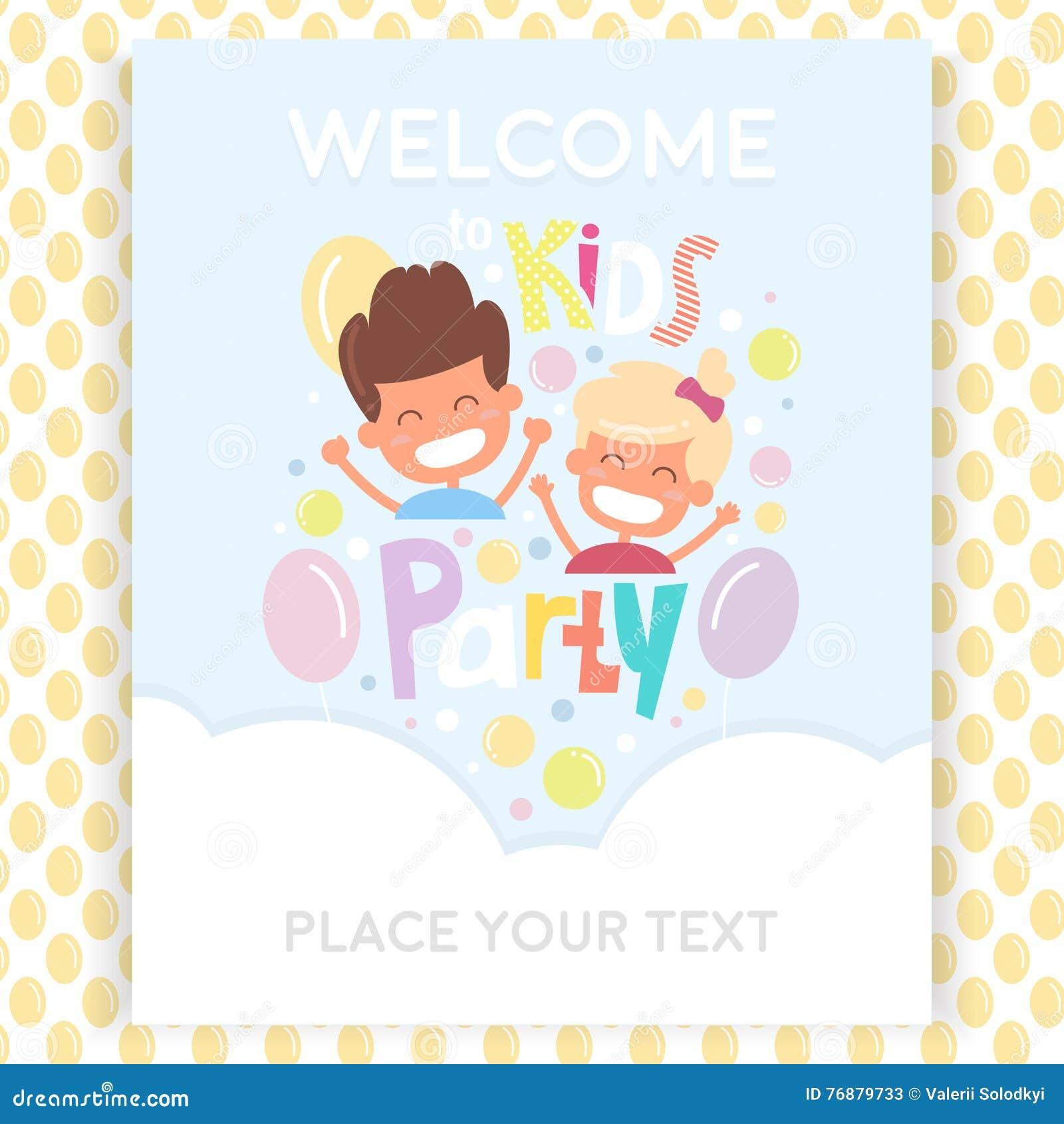 Plantilla del diseño de la invitación del partido de los niños con los niños felices Modelo inconsútil con los globos en muestras