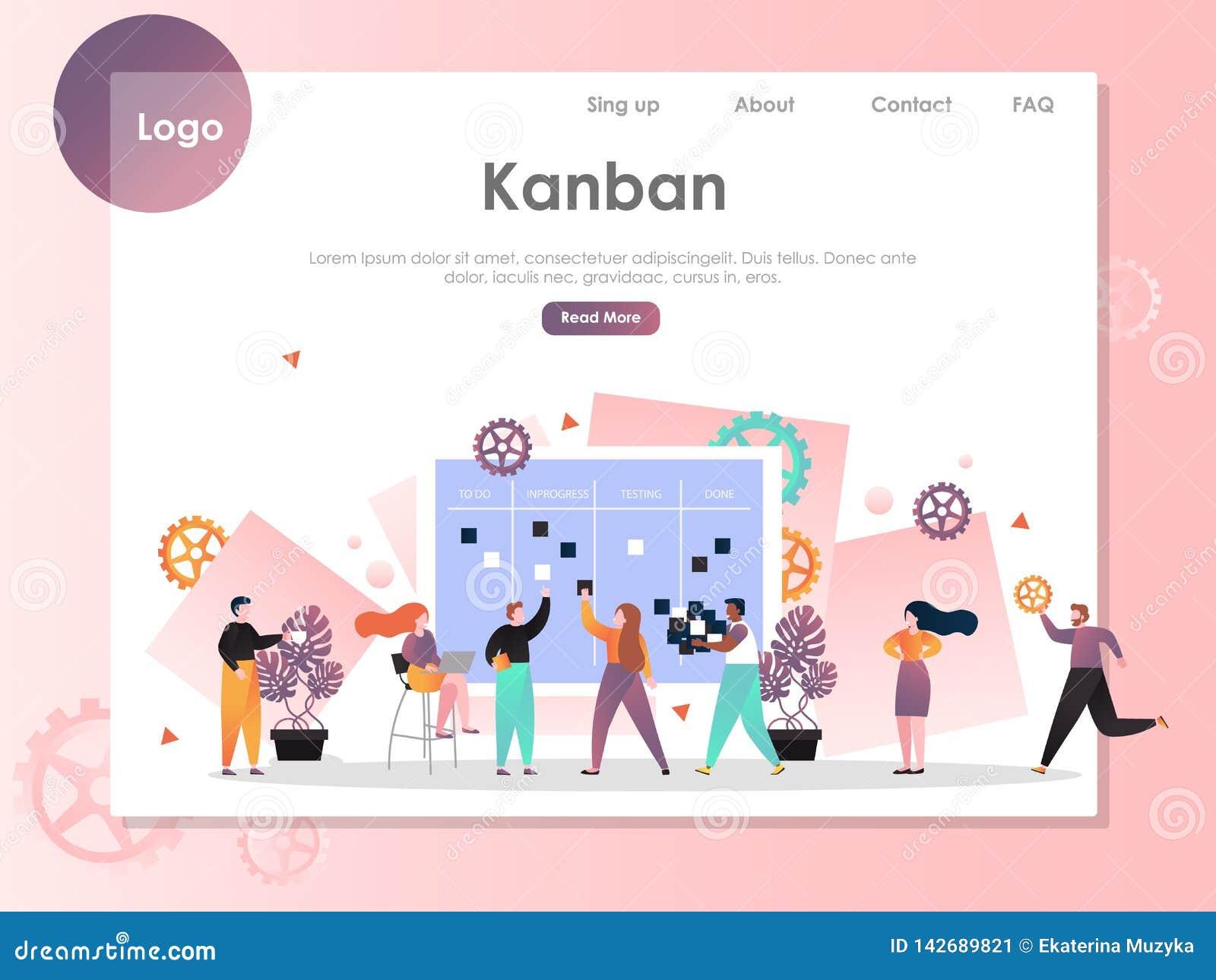 Plantilla del diseño de la página del aterrizaje de la página web del vector de Kanban