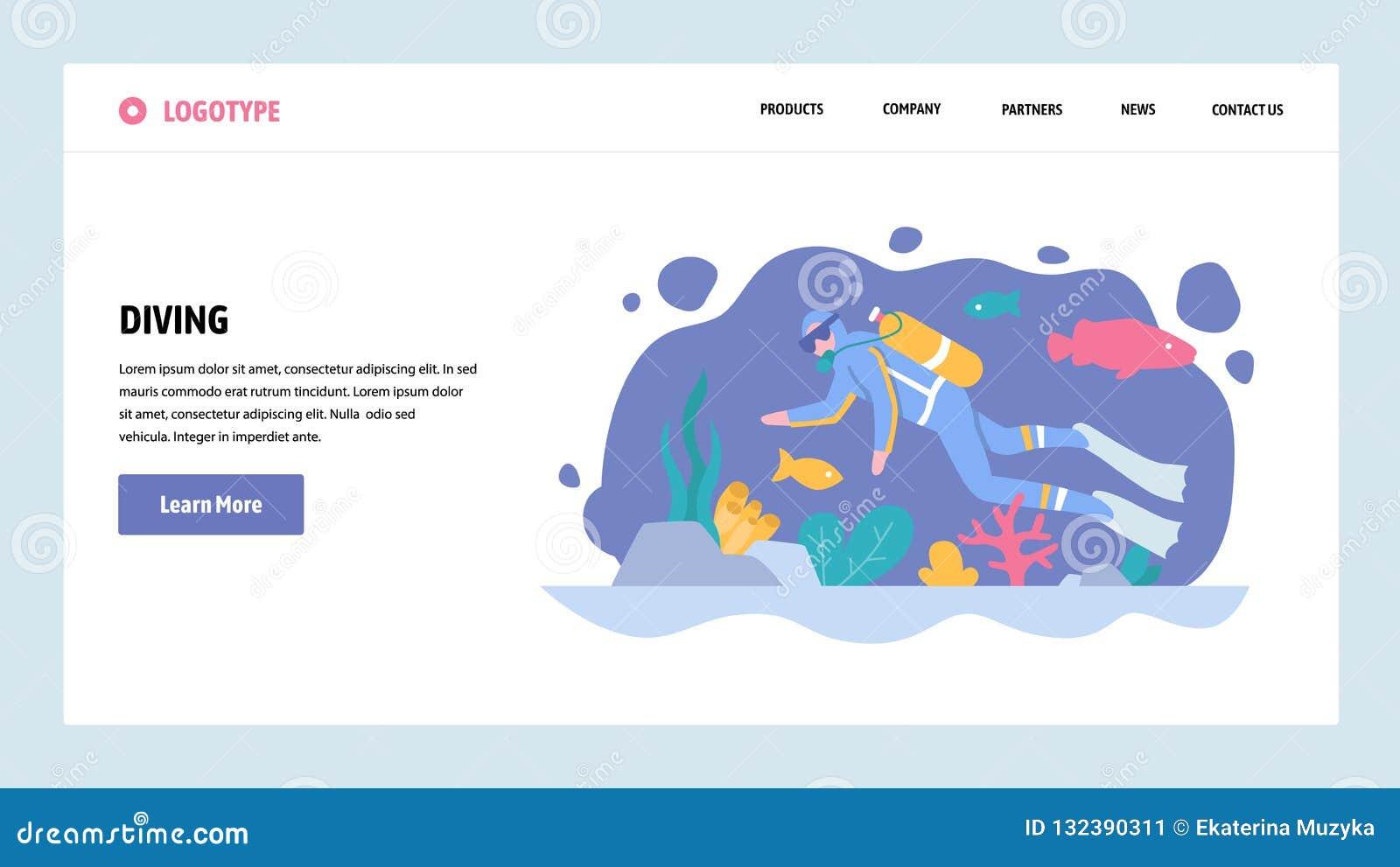 Plantilla del diseño de la pendiente del sitio web del vector Buceo con escafandra Vida marina del reloj del submarino del bucead