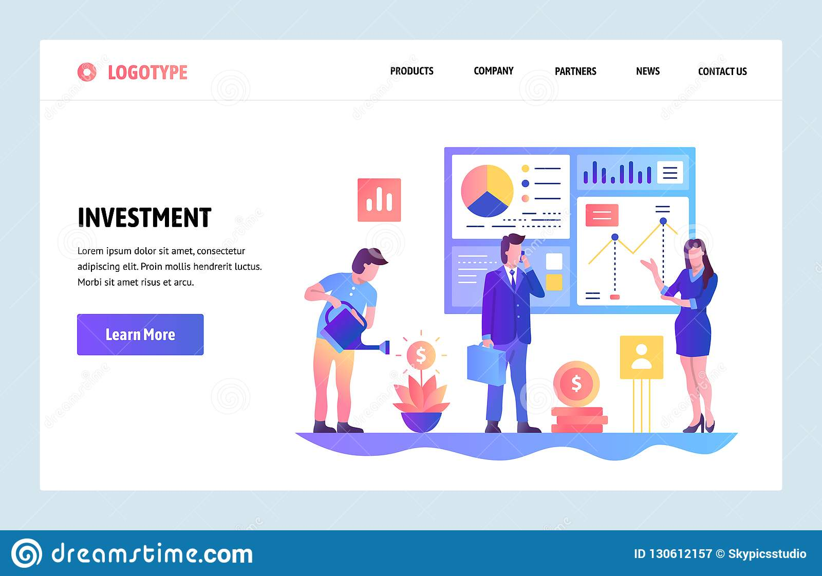Plantilla del diseño de la pendiente del sitio web del vector Inversión empresarial e informe financiero del ROI Conceptos de ate