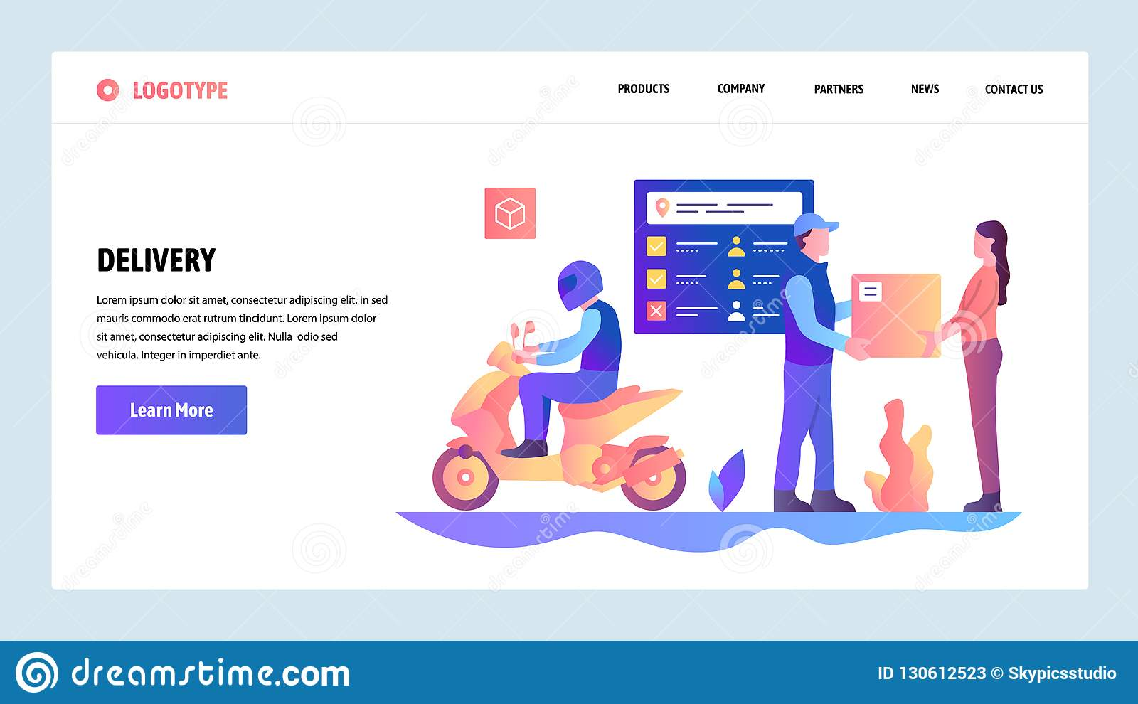 Plantilla del diseño de la pendiente del sitio web del vector Servicio de entrega rápido de ciudad de la moto Servicio de correo