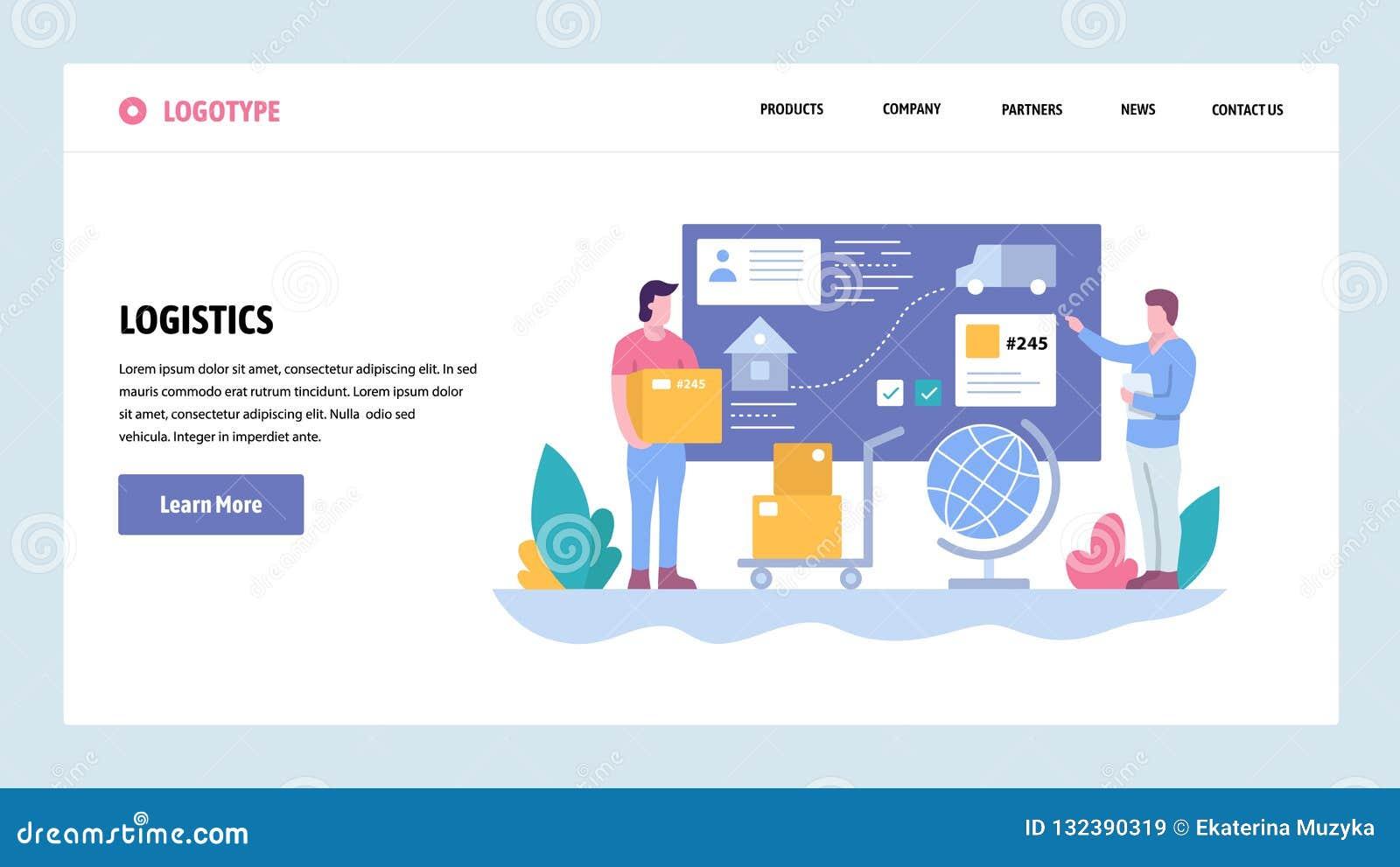 Plantilla del diseño de la pendiente del sitio web del vector Servicio del seguimiento y de entrega Envío del paquete Conceptos d