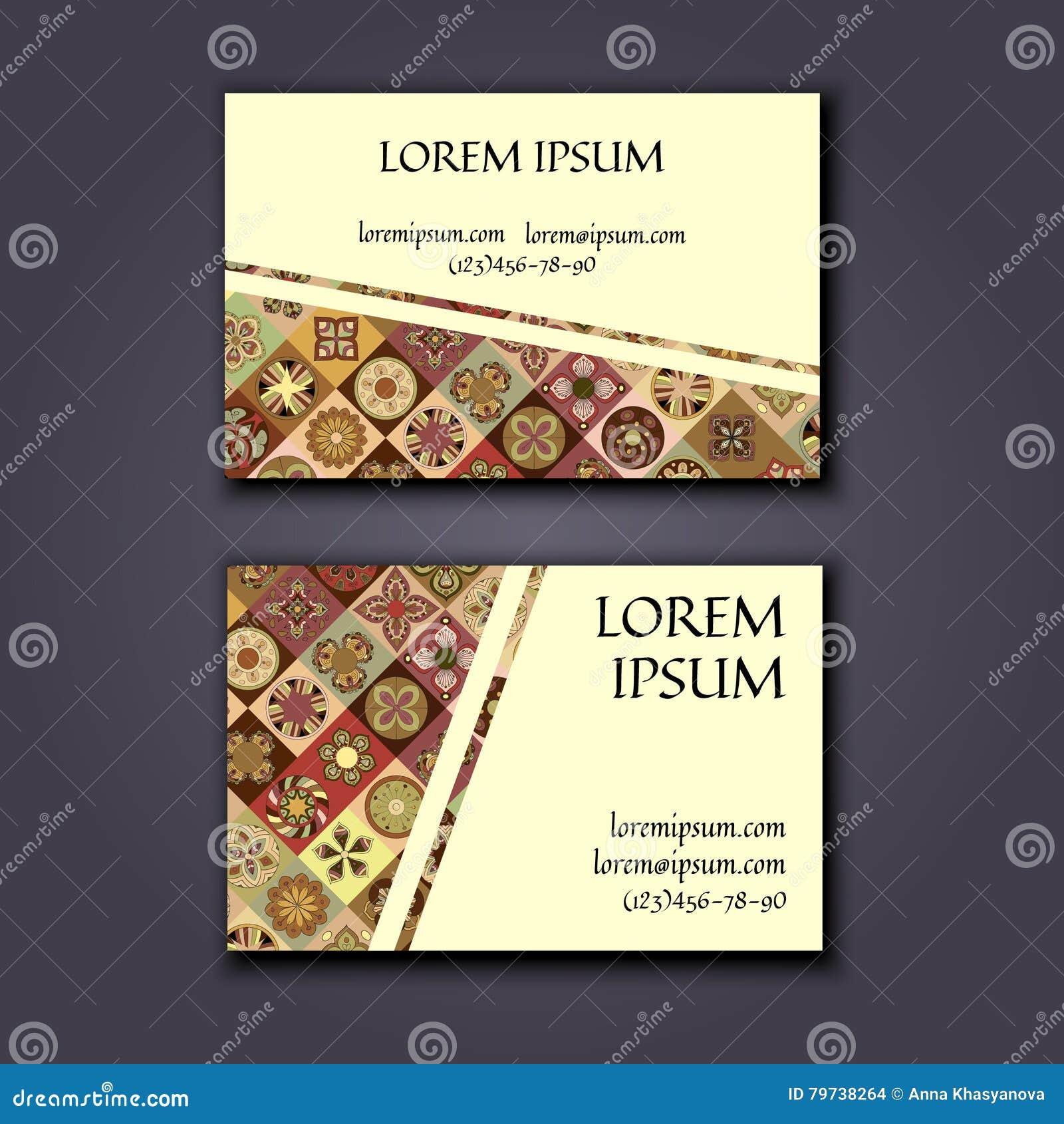 Plantilla del diseño de la tarjeta de visita del vector con el modelo geométrico ornamental de la mandala Elementos decorativos d