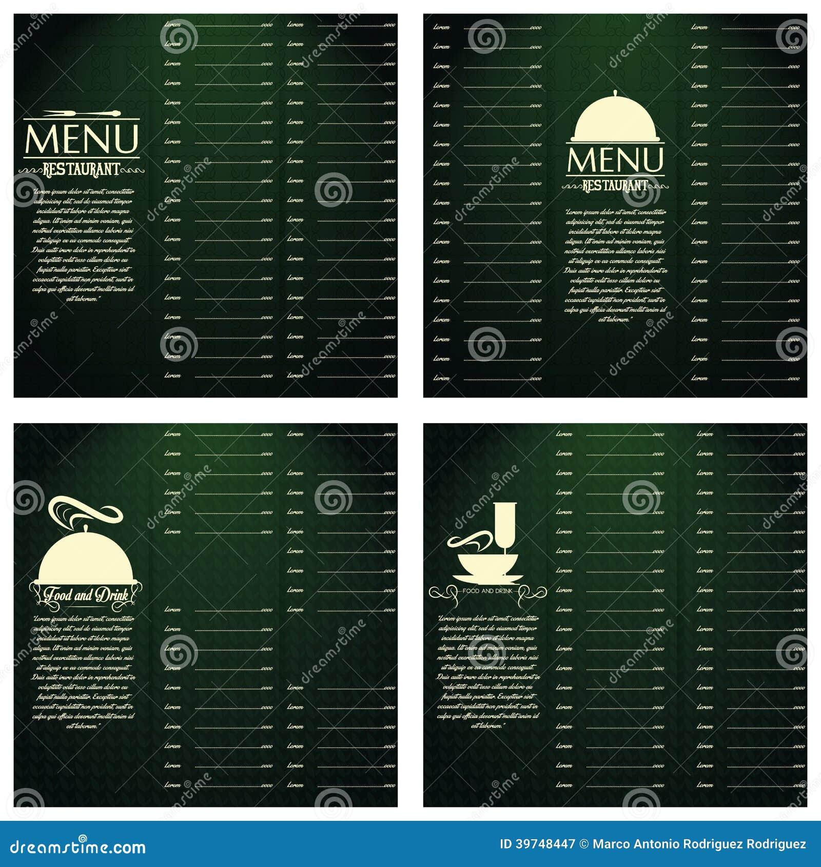 Plantilla Del Diseño De Tarjetas Del Menú Del Restaurante Editable ...