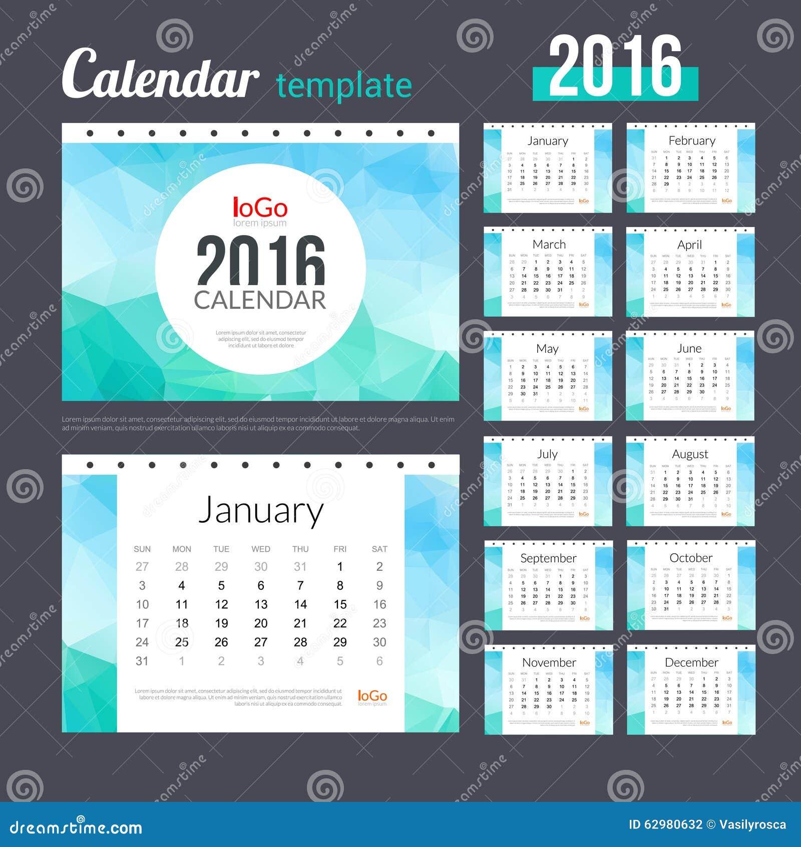 Plantilla Del Diseño Del Calendario De Escritorio 2016 Con ...