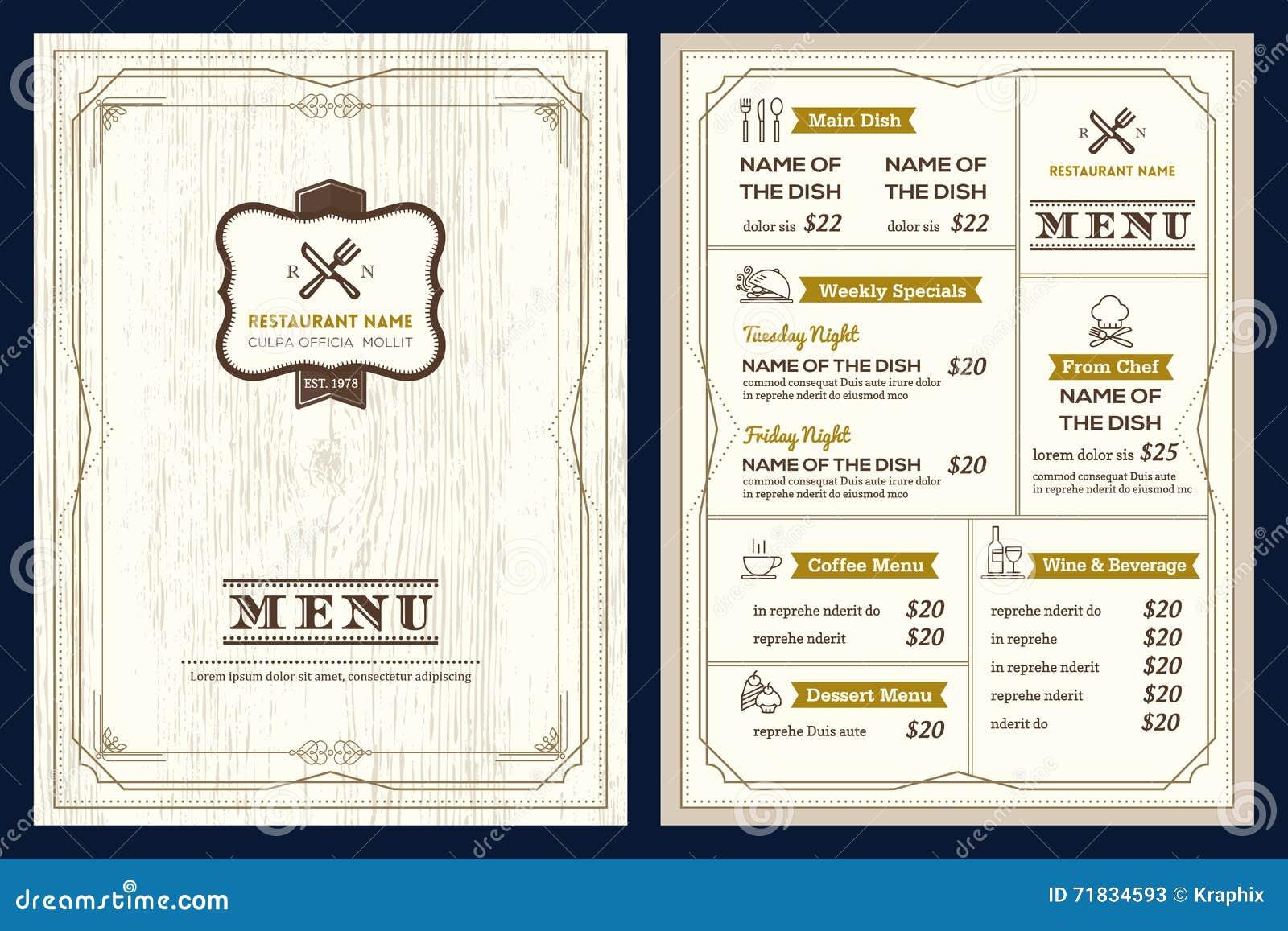 Plantilla Del Diseño Del Menú Del Restaurante O Del Café Con El ...
