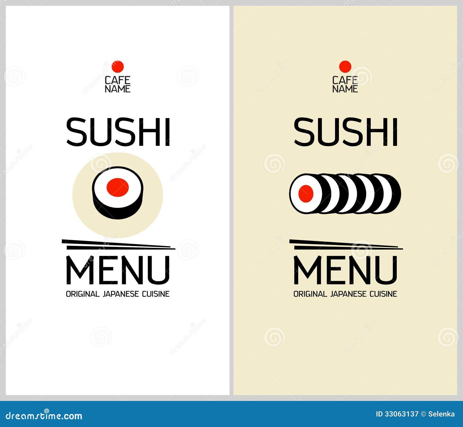 Plantilla Del Diseño Del Menú Del Sushi. Ilustración del Vector ...