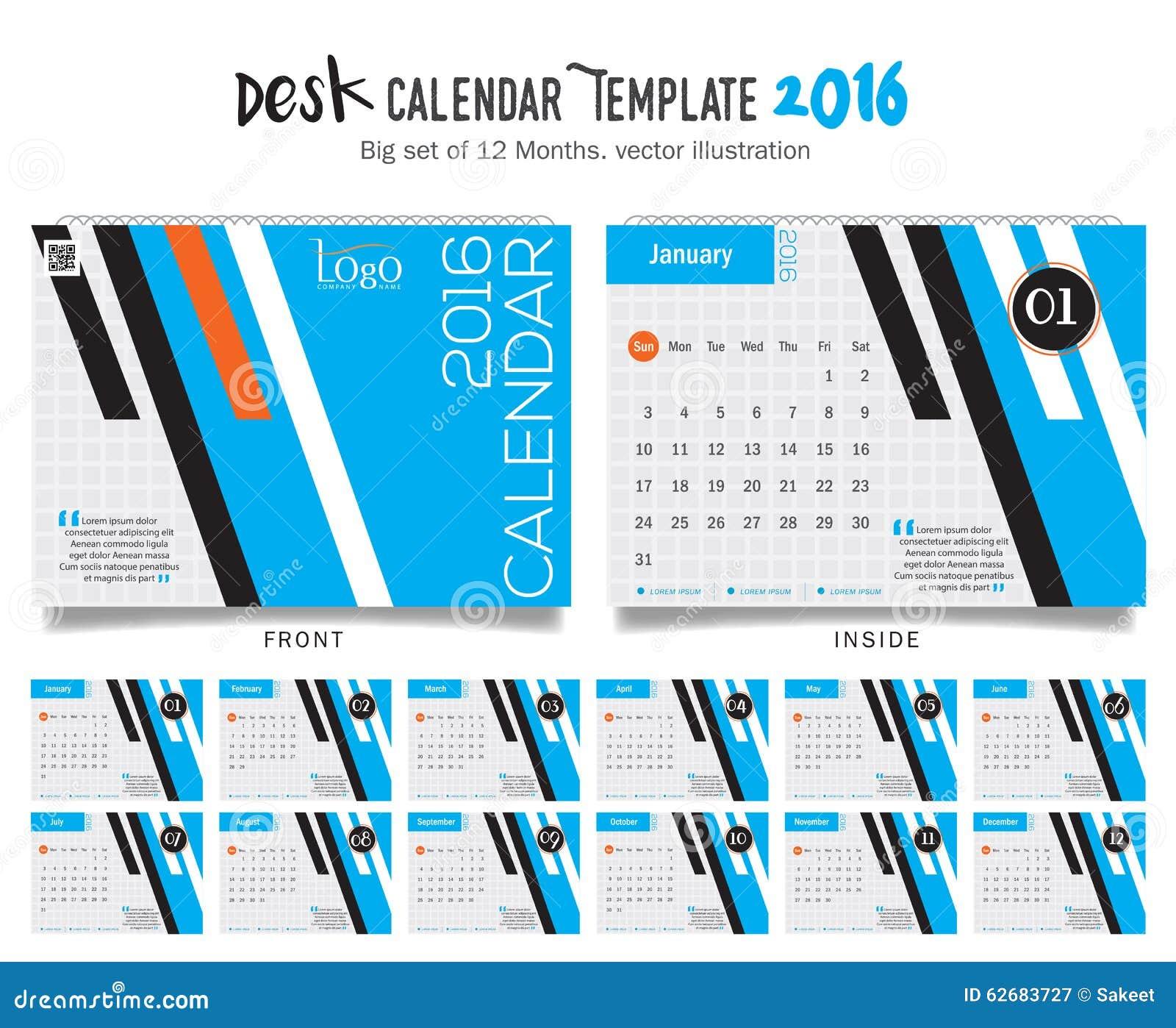 En Marzo De 2016 Calendario De Escritorio Stock de ilustración ...