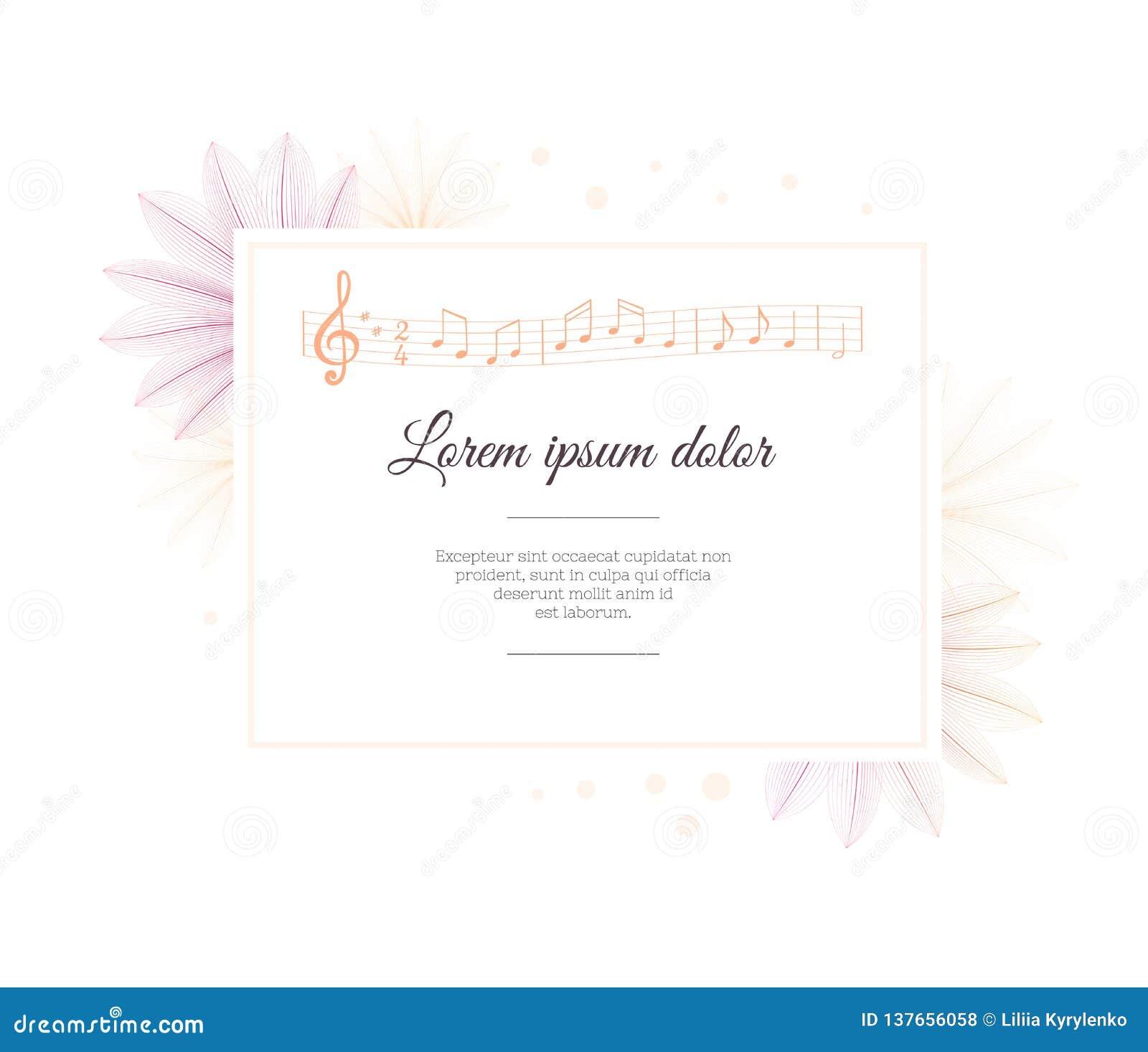 Plantilla del diseño floral Efecto de la radiografía de la flor Hoja de la nota de la música Melodía musical