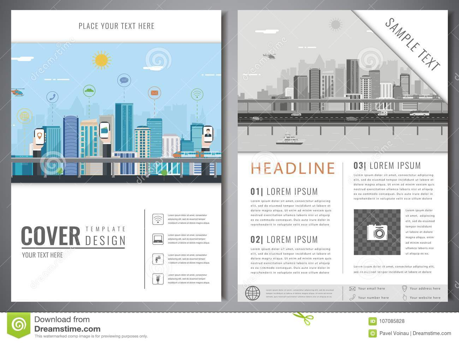 Plantilla Del Diseño Del Folleto Con Paisaje Urbano Presentación De ...
