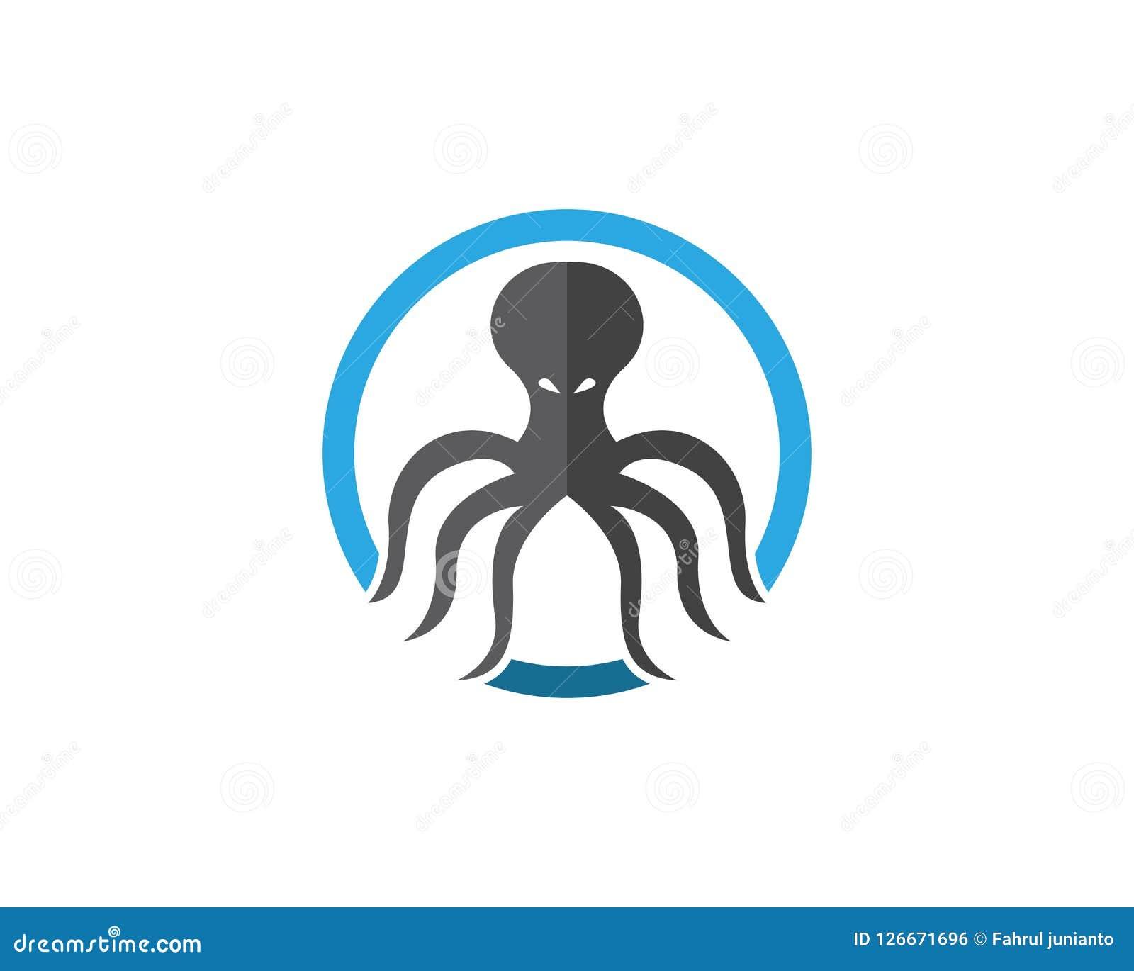Plantilla del diseño del logotipo del pulpo Ilustración del Vector