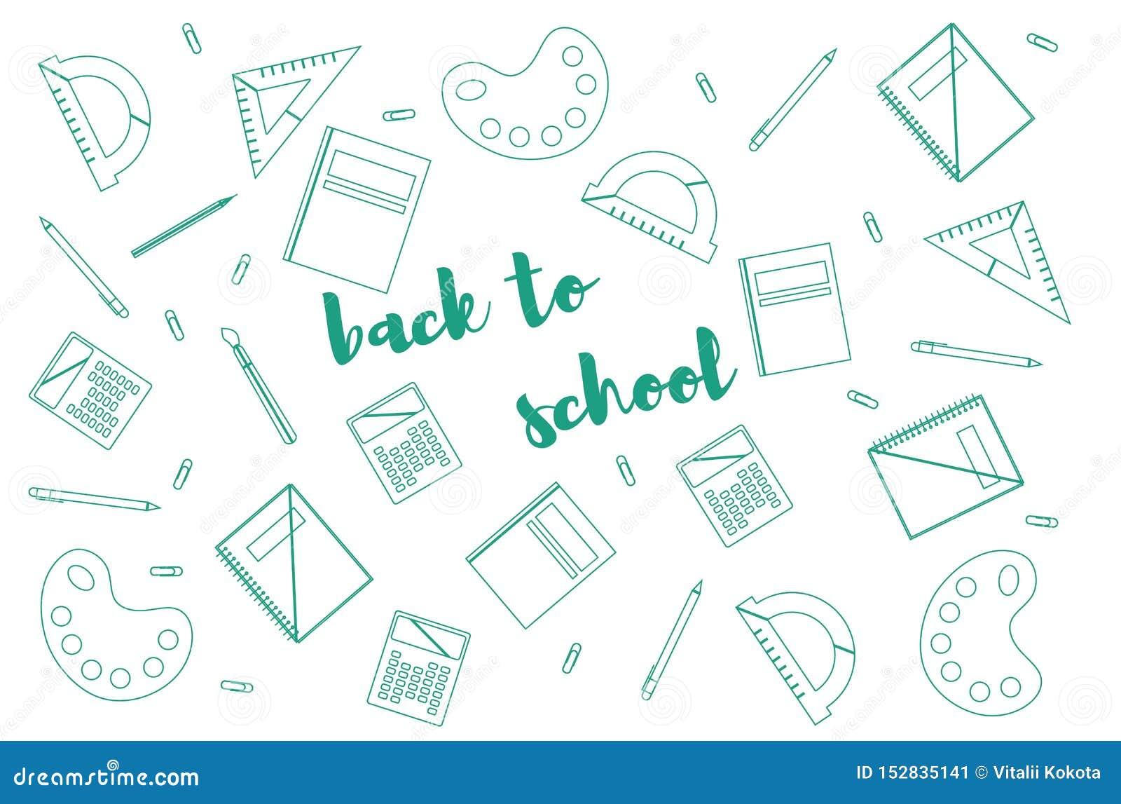 Plantilla del diseño moderno con los accesorios de la escuela y 'de nuevo letras a la escuela '
