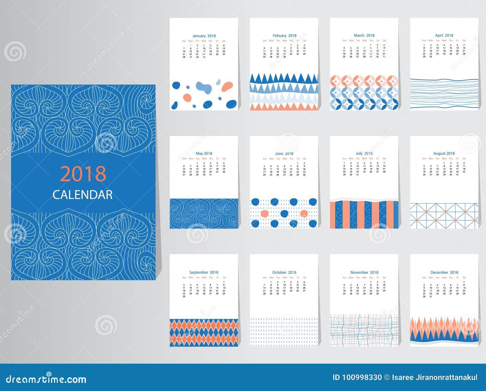 Plantilla Del Diseño Del Vector Del Calendario 2018 Con El