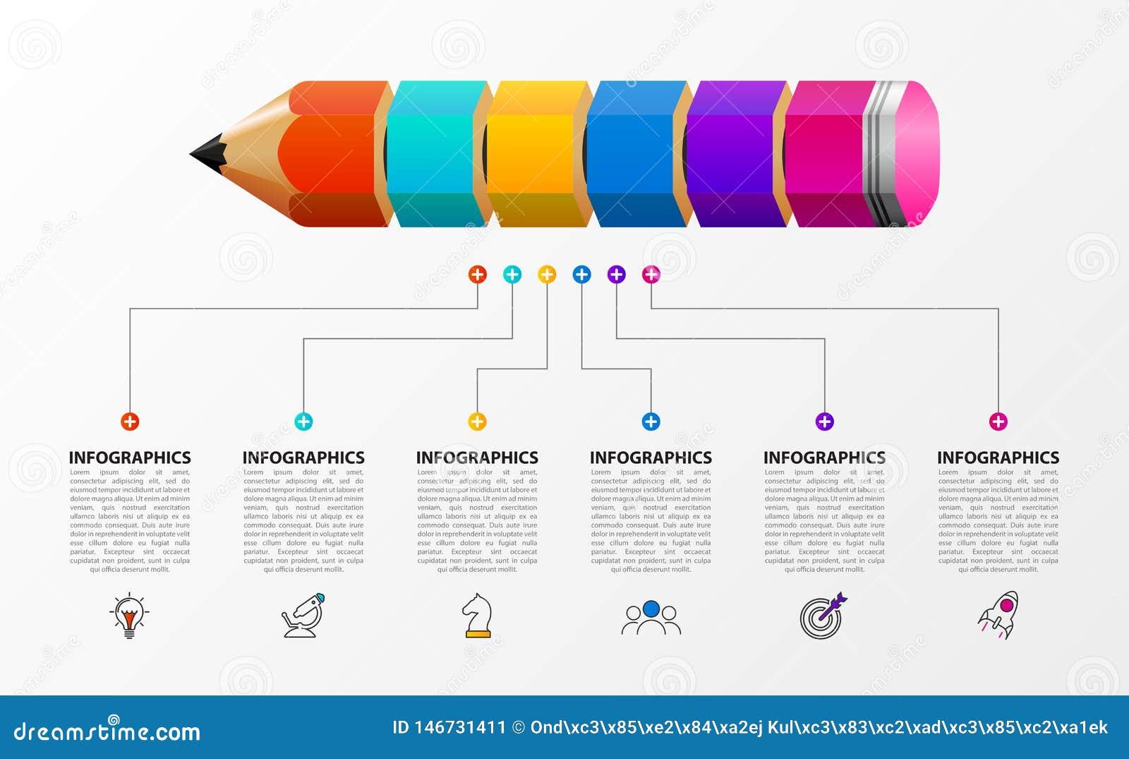 Plantilla del dise?o de Infographic Concepto creativo con 6 pasos
