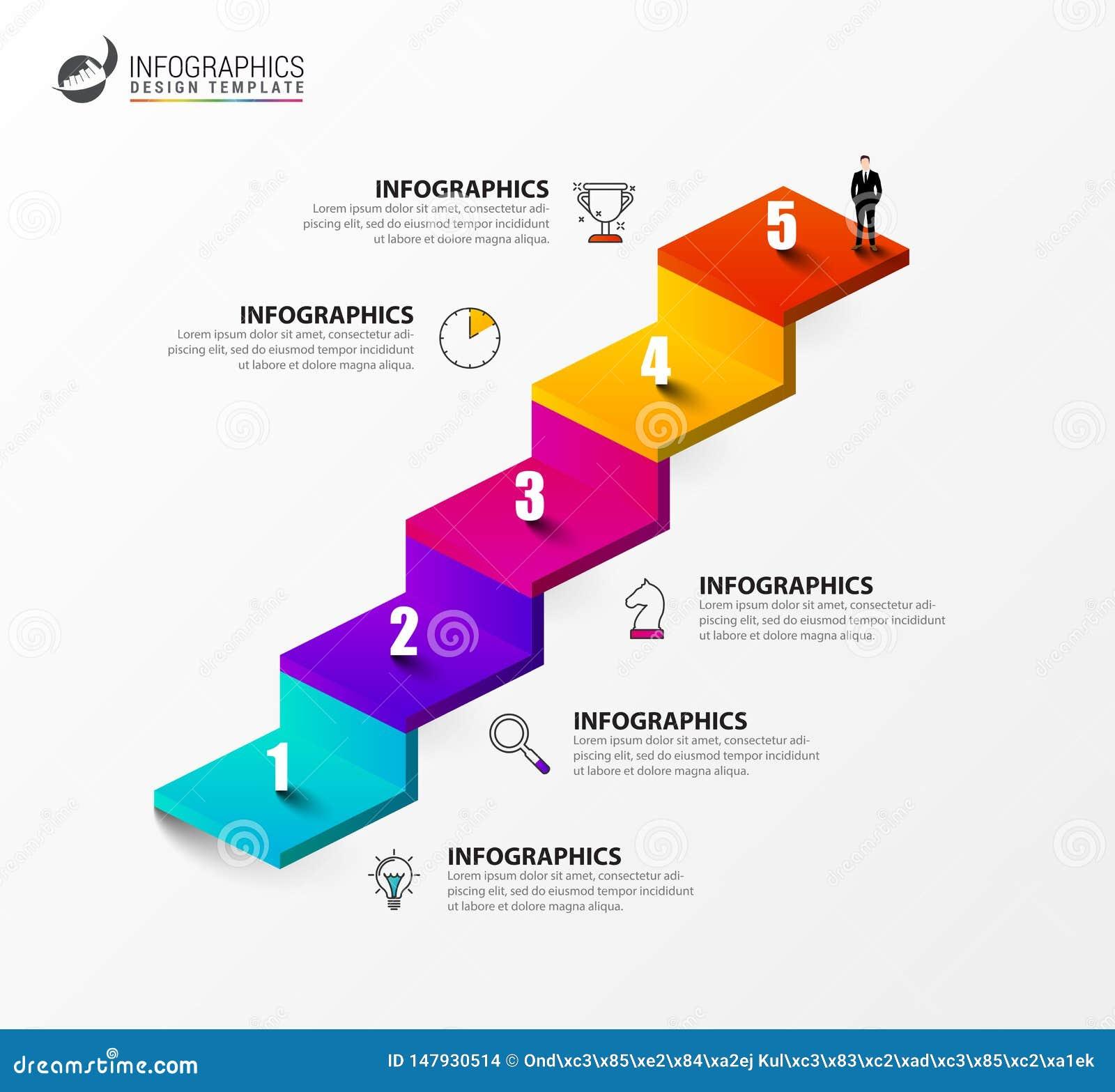Plantilla del dise?o de Infographic Concepto creativo con 5 pasos