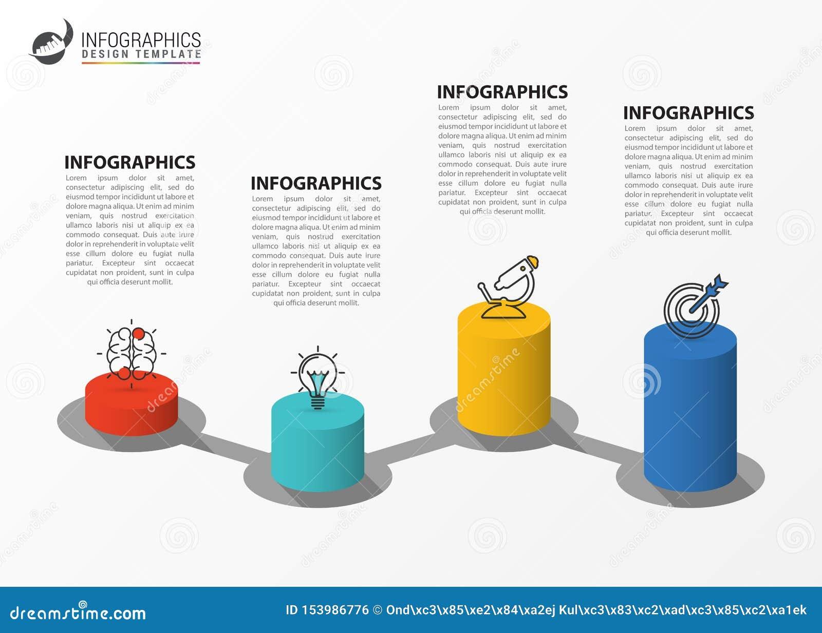 Plantilla del dise?o de Infographic Concepto creativo con 4 pasos