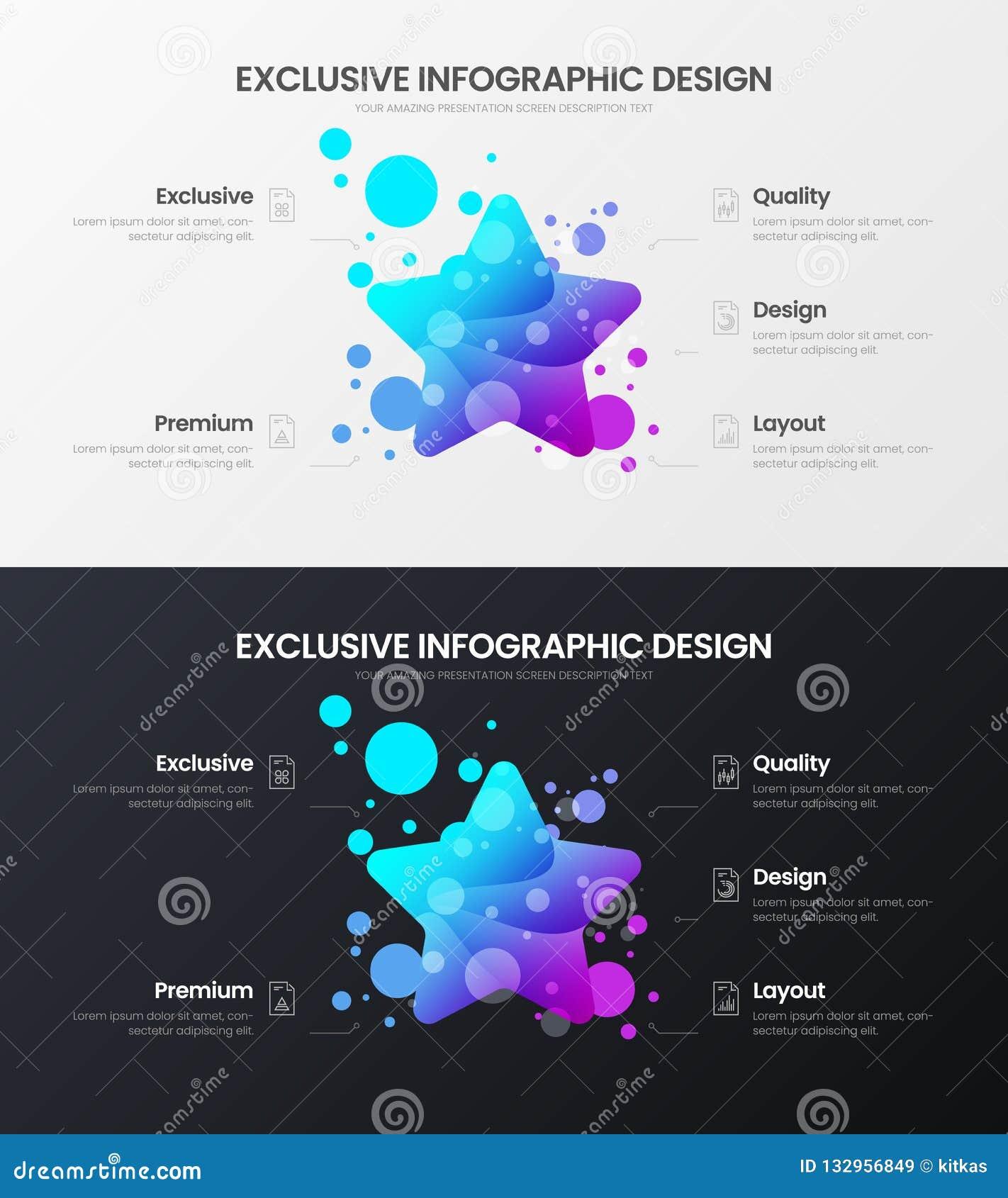 Plantilla del ejemplo del vector de 5 de la opción de la estrella analytics del márketing Sistema de la disposición de diseño de