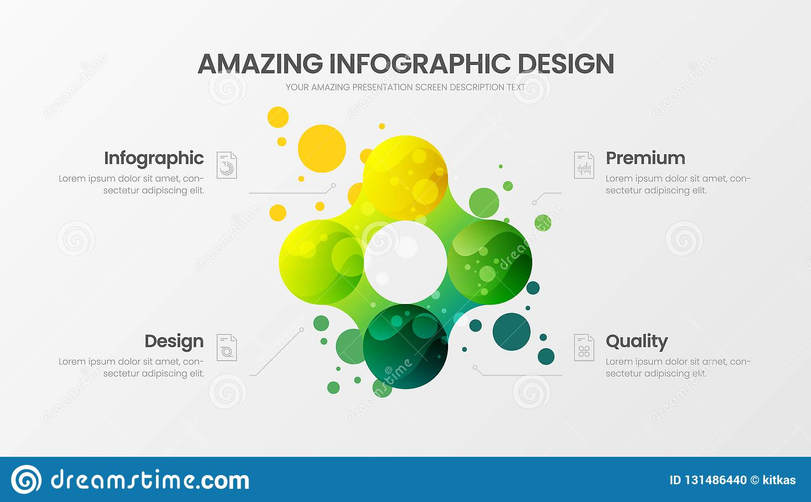 Plantilla del ejemplo del vector de la presentación del analytics del negocio disposición de diseño infographic de 4 estadísticas