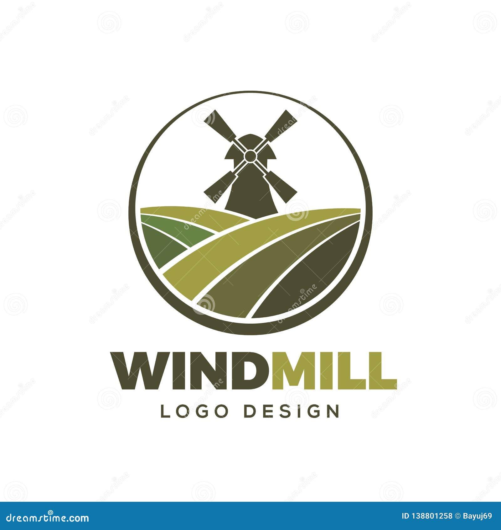 Plantilla del elemento del diseño del logotipo de la granja del molino de viento