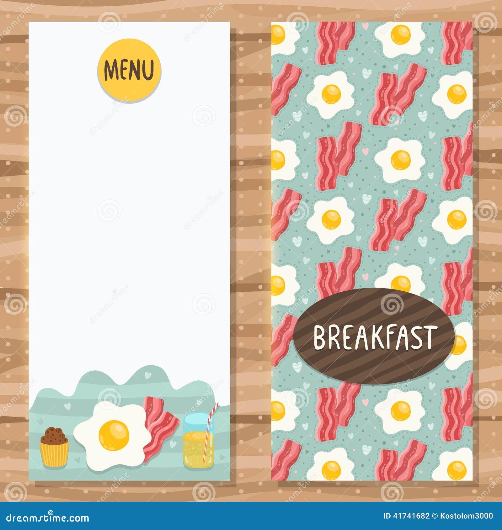 Plantilla Del Folleto Para El Menú Del Desayuno Ilustración del ...