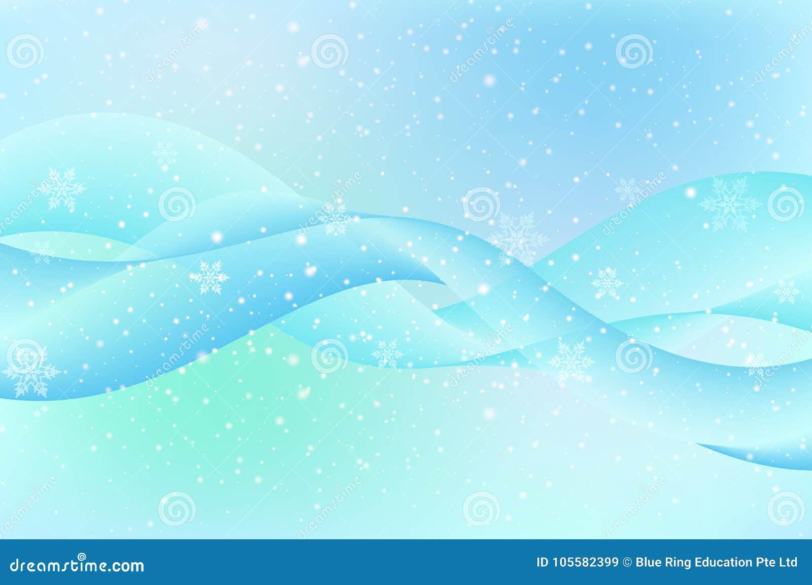Plantilla Del Fondo Con Los Copos De Nieve En Fondo Azul Ilustración ...