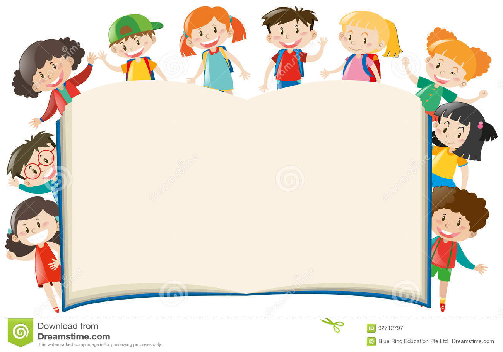 Plantilla Del Fondo Con Los Niños Alrededor Del Libro Stock de ...