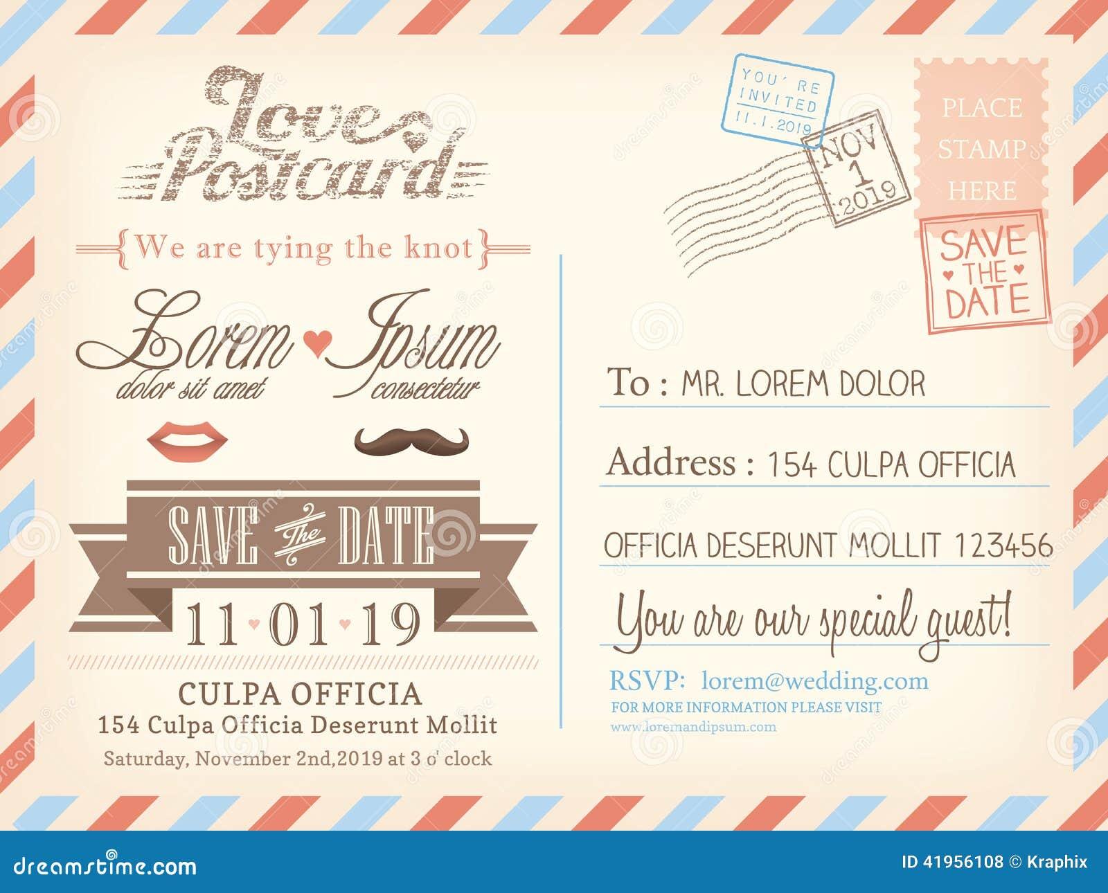 Plantilla del fondo de la postal del correo aéreo del vintage para casarse la invitación