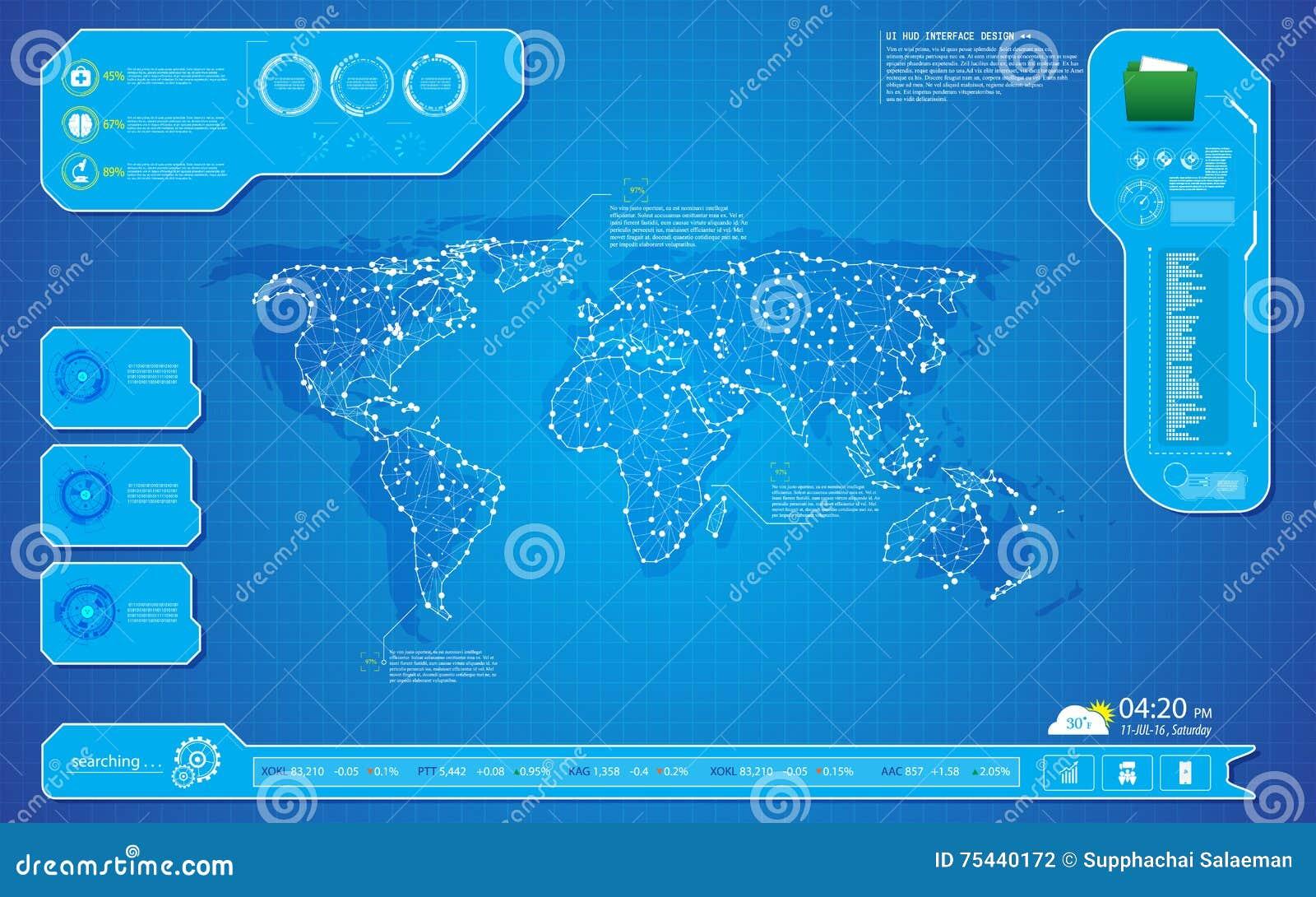 Plantilla del fondo del diseño del interfaz UI del hud de la innovación de la tecnología del mapa del mundo