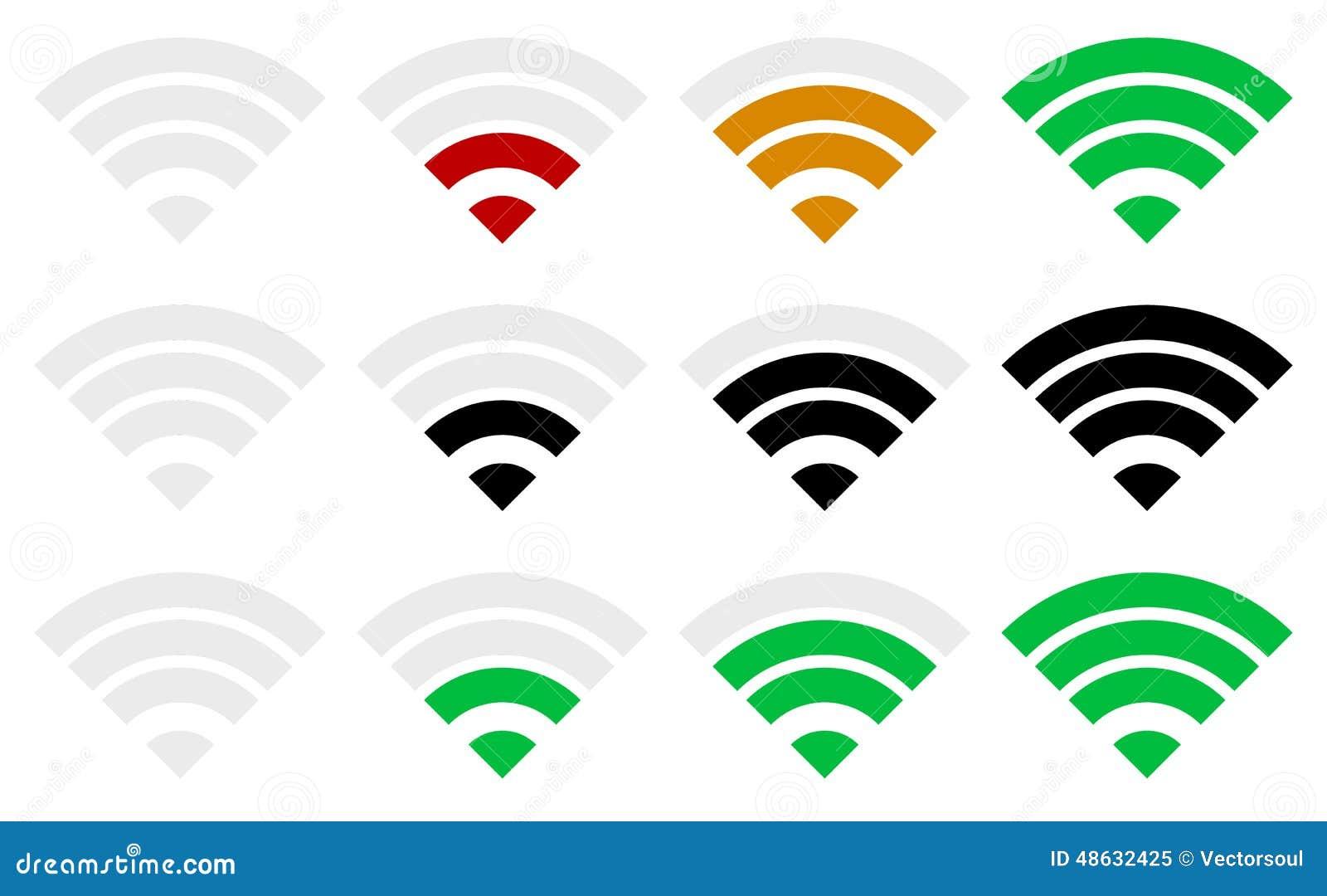 Plantilla del indicador de la fuerza de señal Wi-Fi, conexión inalámbrica,