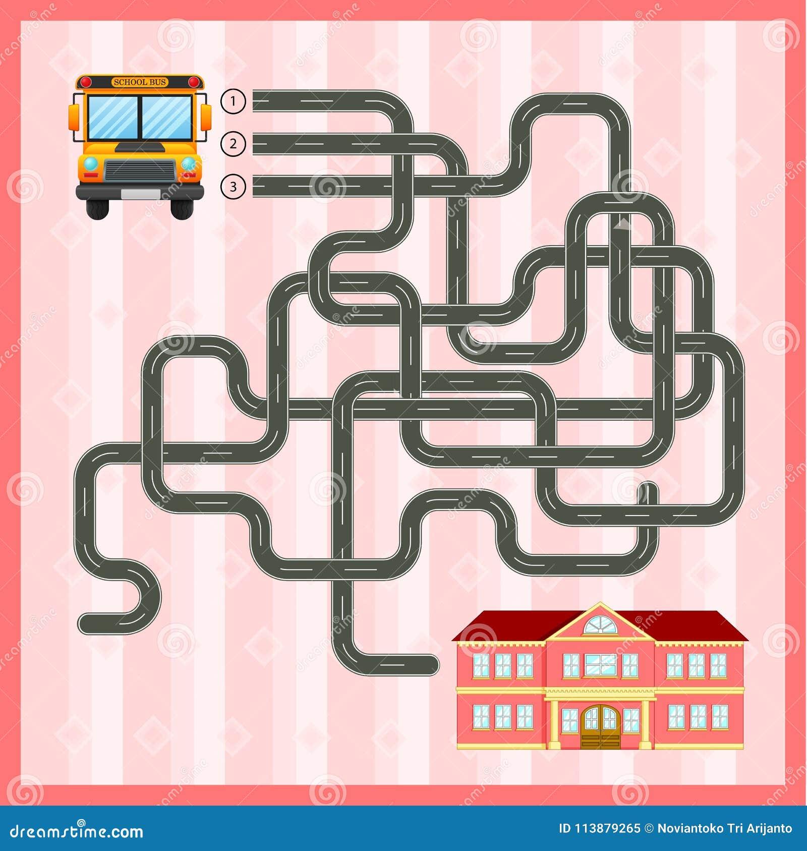 Plantilla Del Juego Del Laberinto Con El Autobús Escolar Ilustración ...