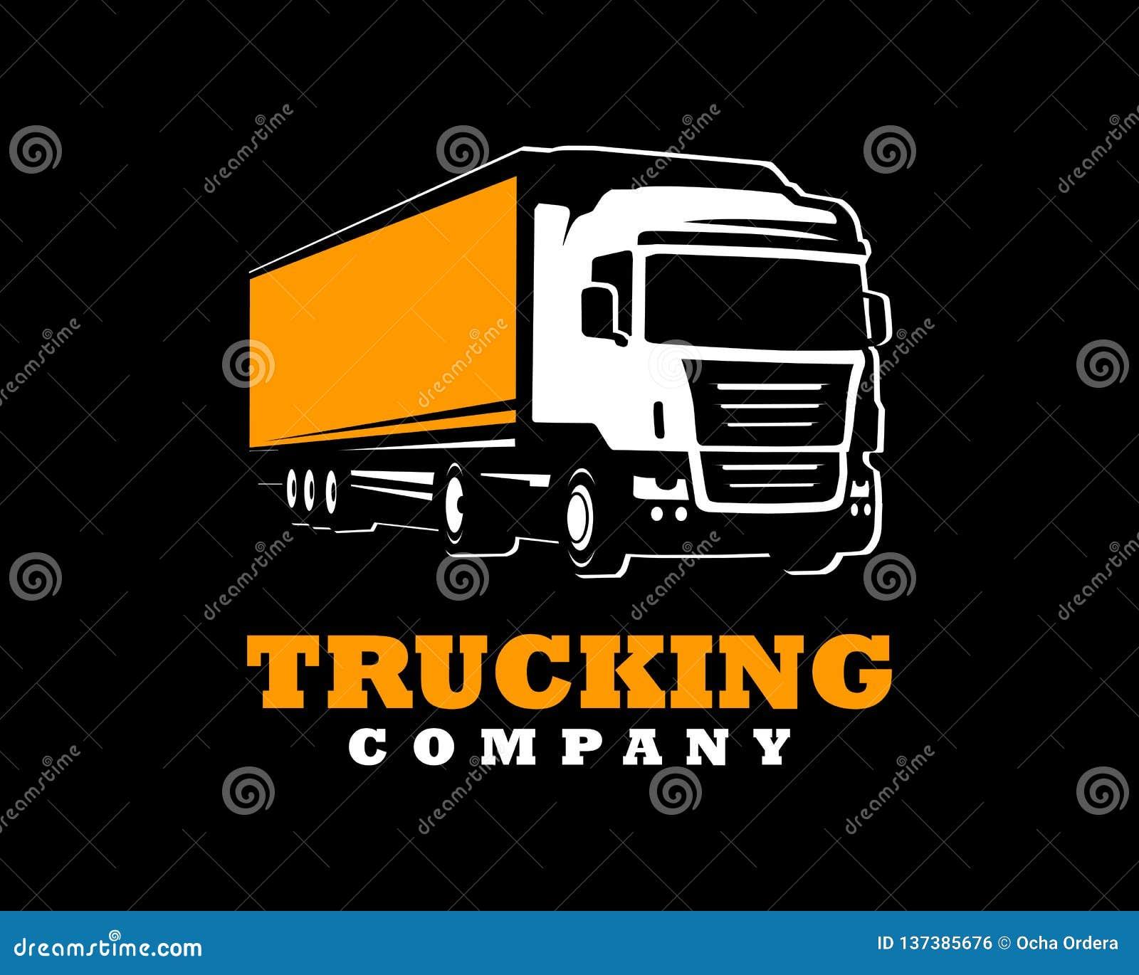 Plantilla del logotipo del camión Un logotipo del camión en fondo oscuro