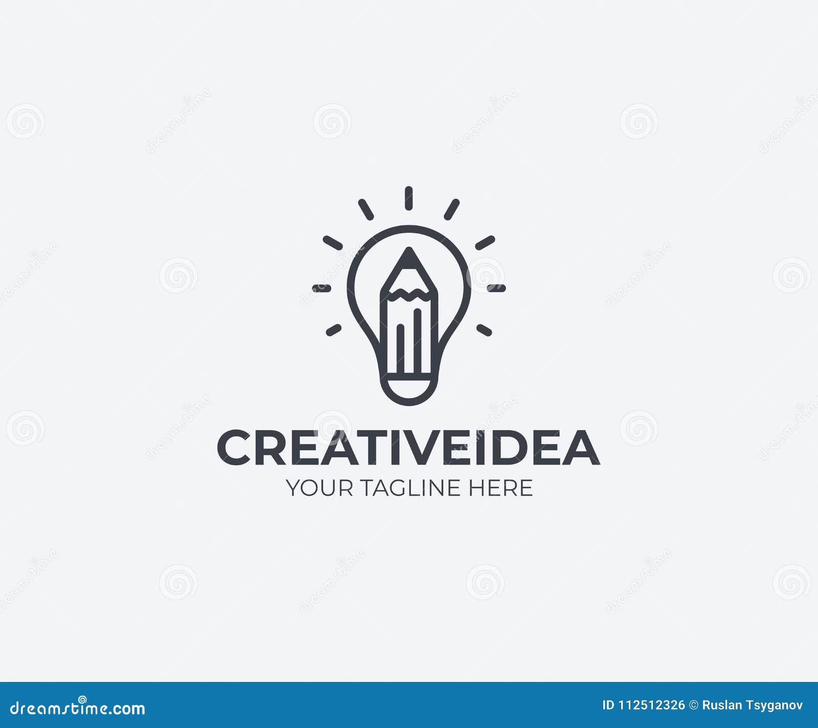 Plantilla Del Logotipo De La Bombilla Y Del Lápiz Diseño Creativo ...