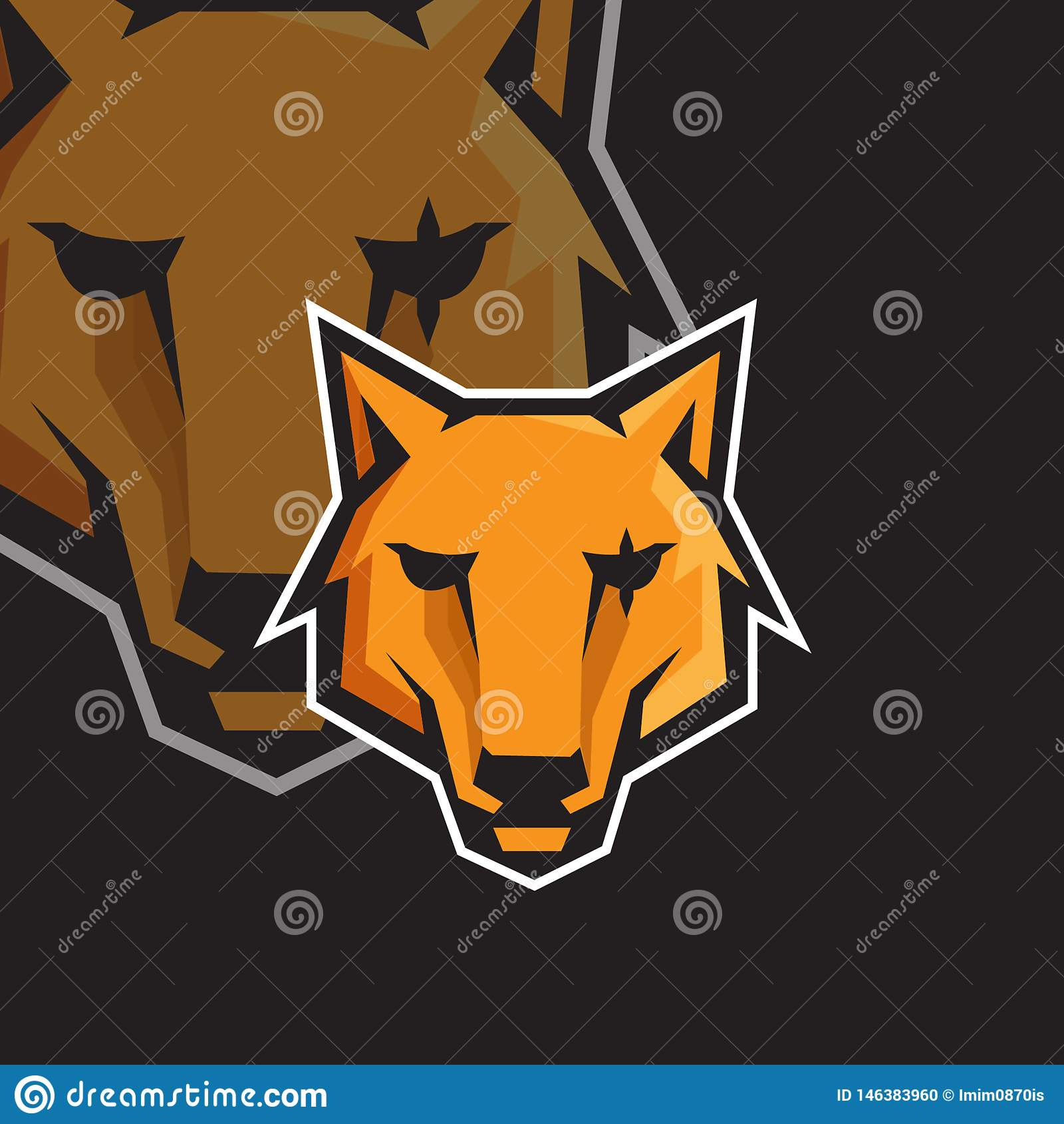 Plantilla del logotipo de la mascota del juego del deporte de la cara e del lobo