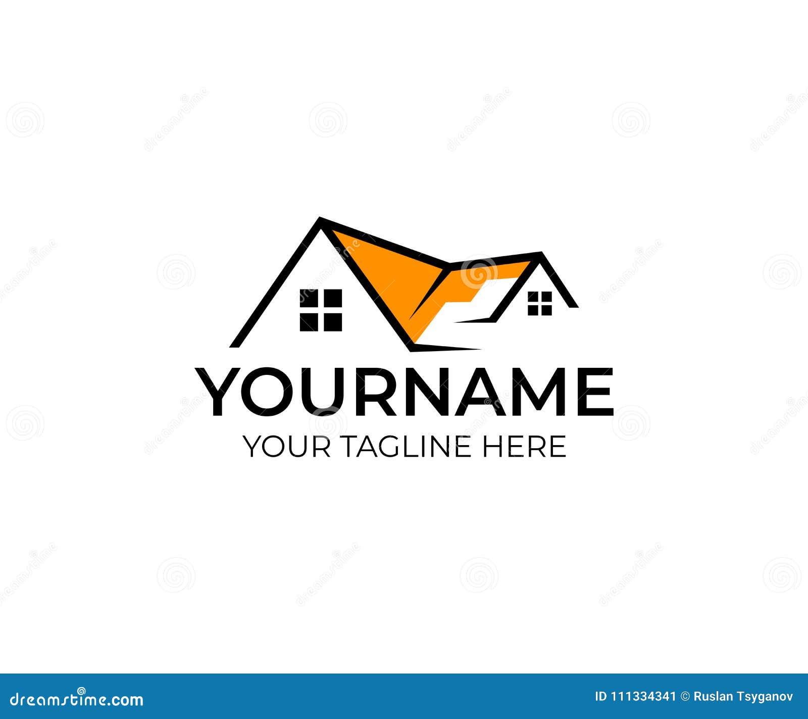 Plantilla del logotipo de las propiedades inmobiliarias de la casa Hogar con la ventana y el tejado del edificio