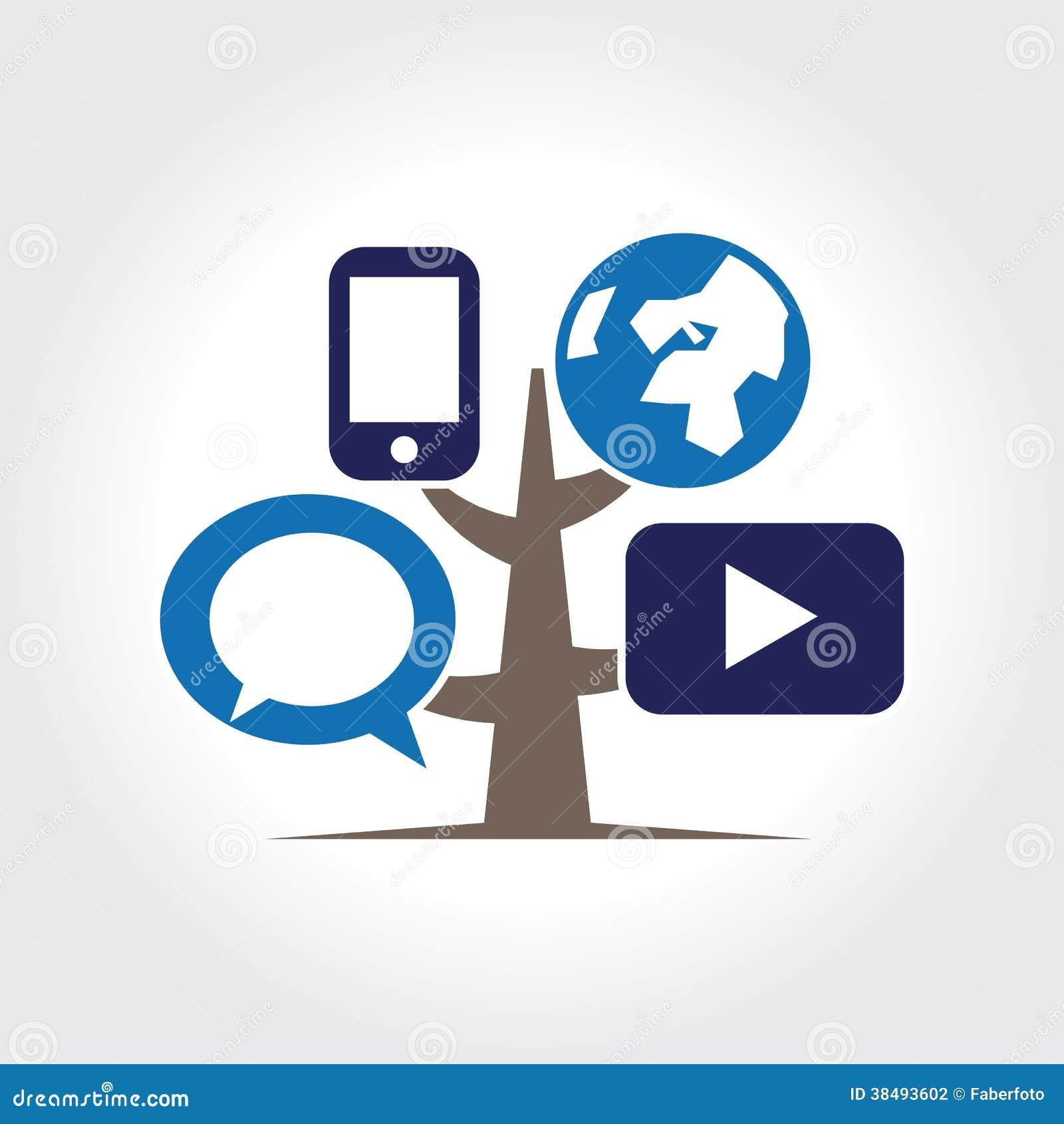 Plantilla del logotipo del icono del árbol de Digitaces.