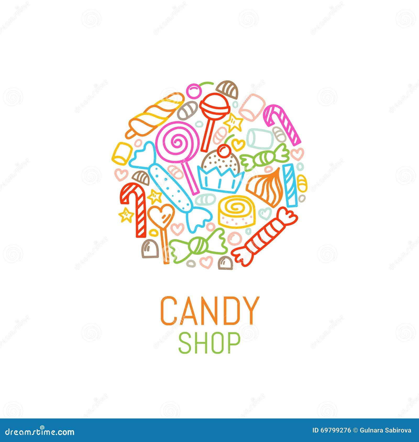 Plantilla Del Logotipo Del Vector De La Tienda Del Caramelo Con ...