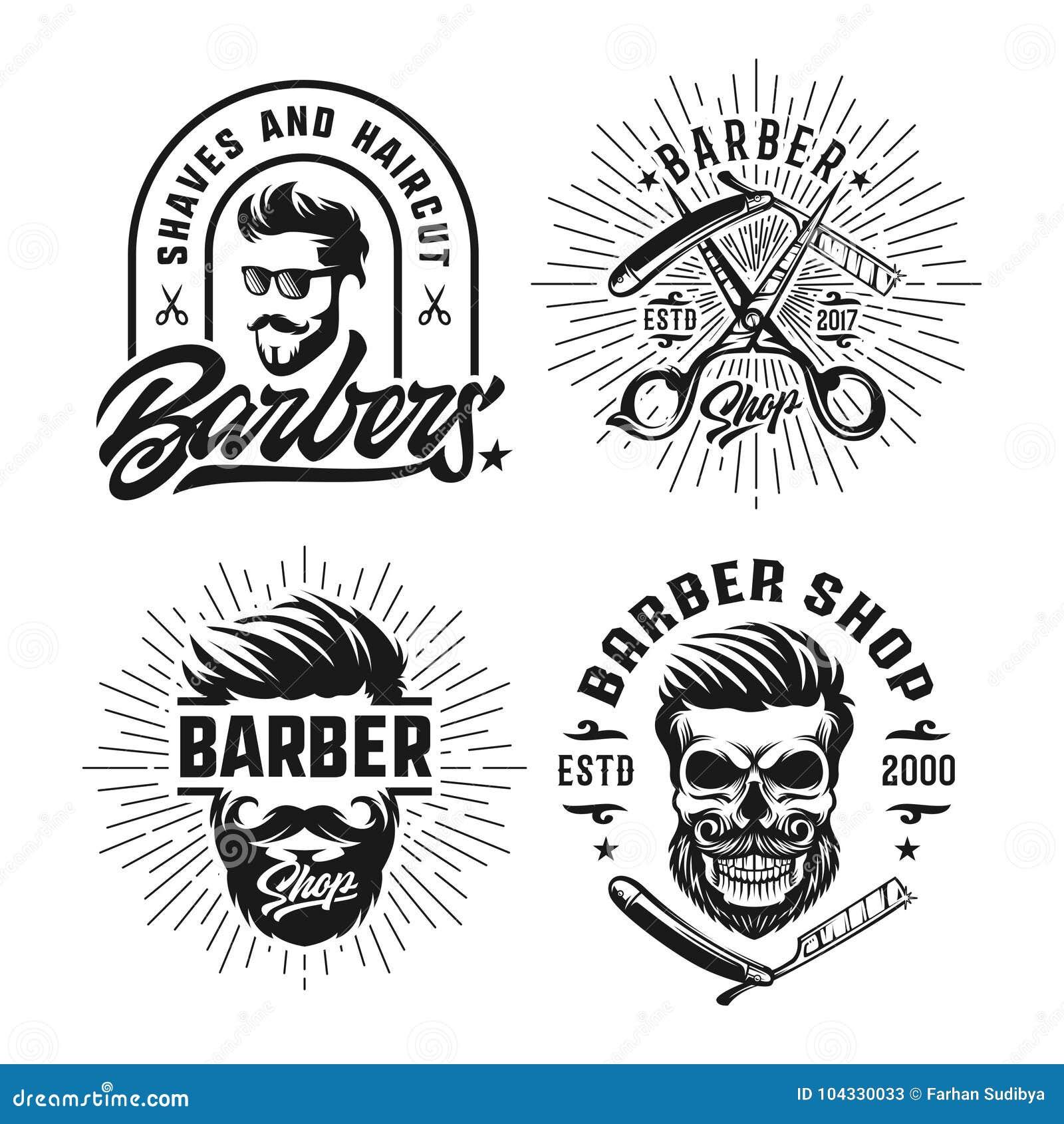 Plantilla del logotipo del diseño del vintage de la peluquería de caballeros