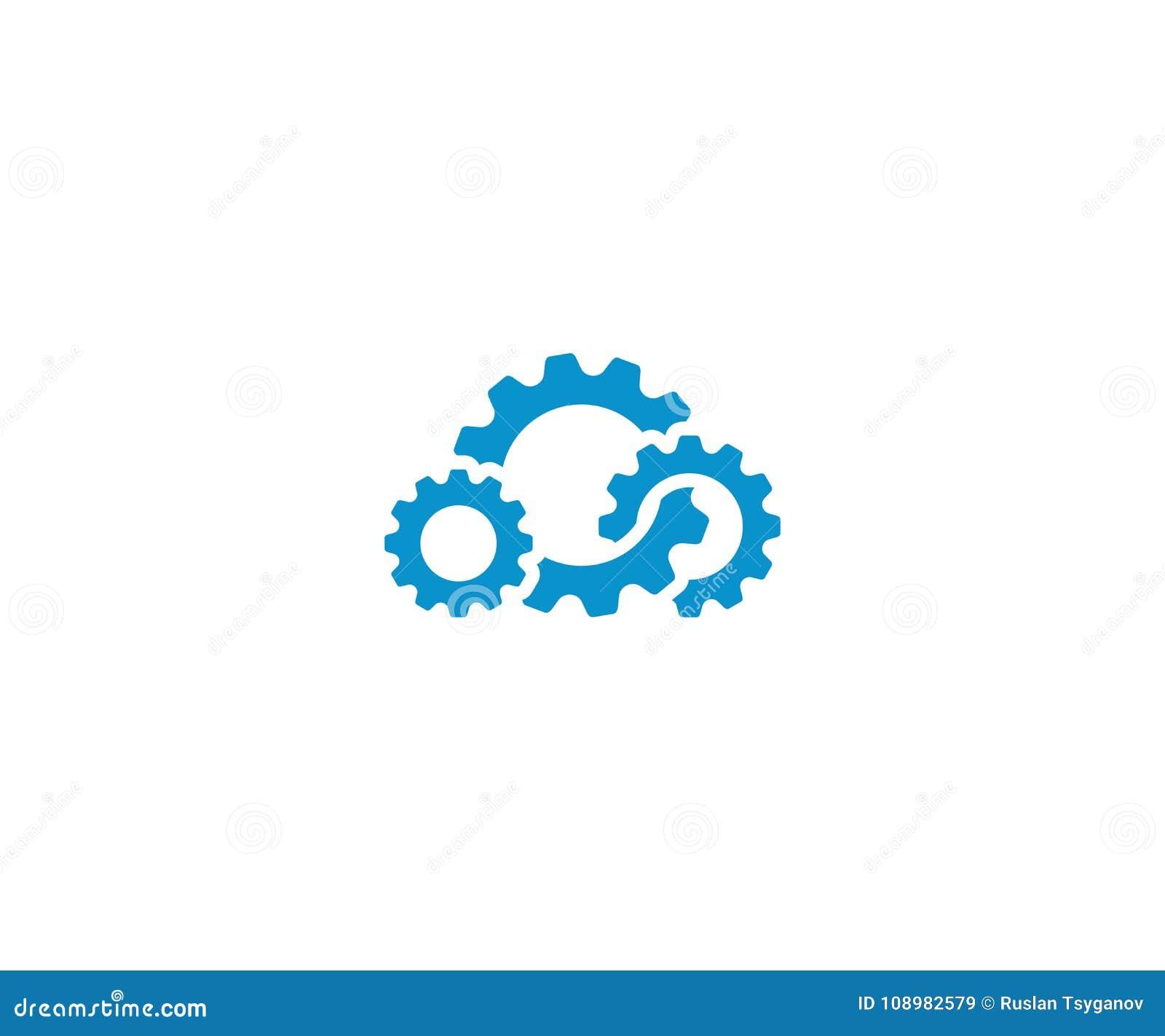 Plantilla del logotipo del engranaje de la nube Diseño computacional del vector de la nube