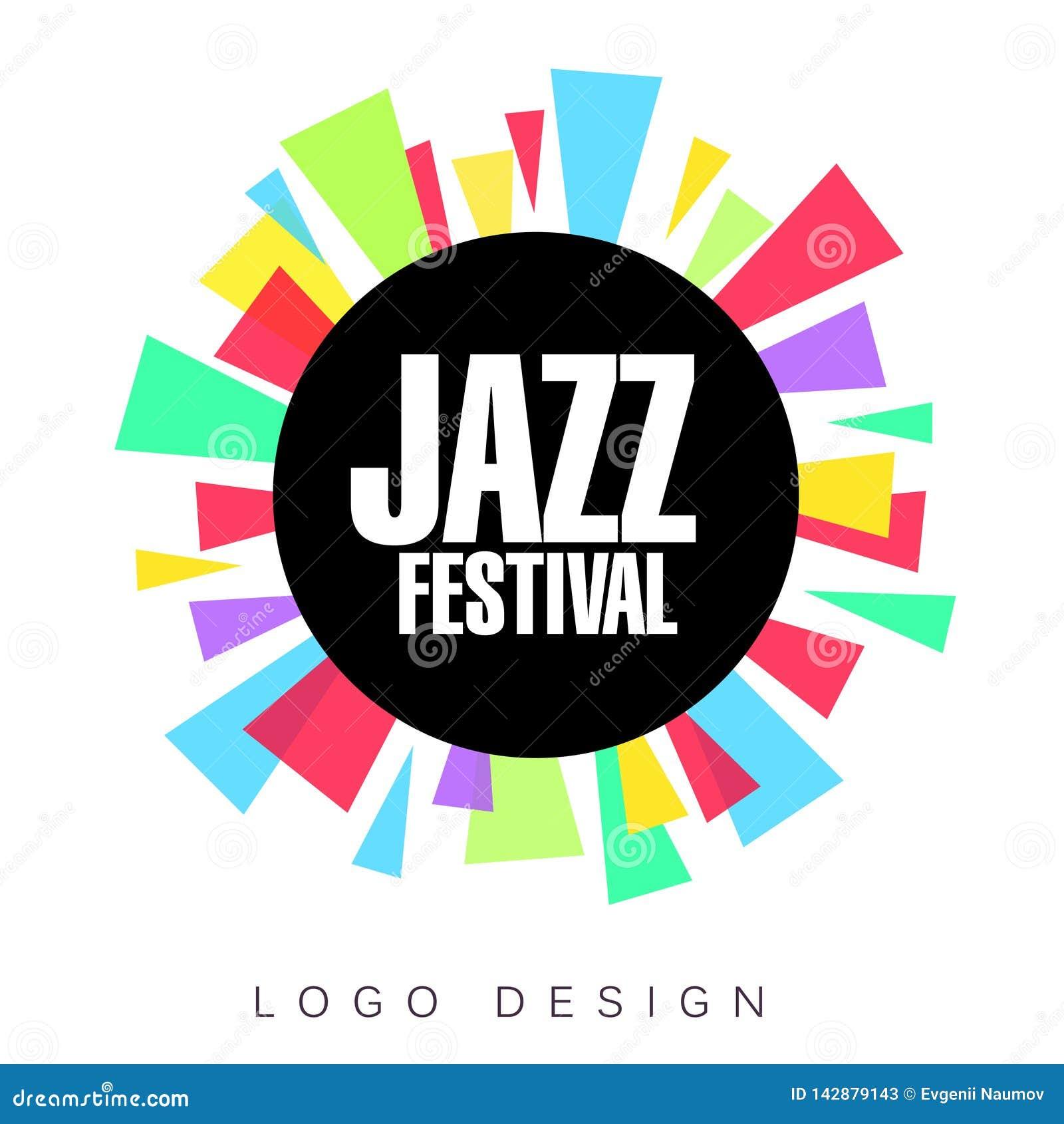 Plantilla del logotipo del festival de jazz, bandera creativa colorida, cartel, elemento del diseño del aviador para el vector mu
