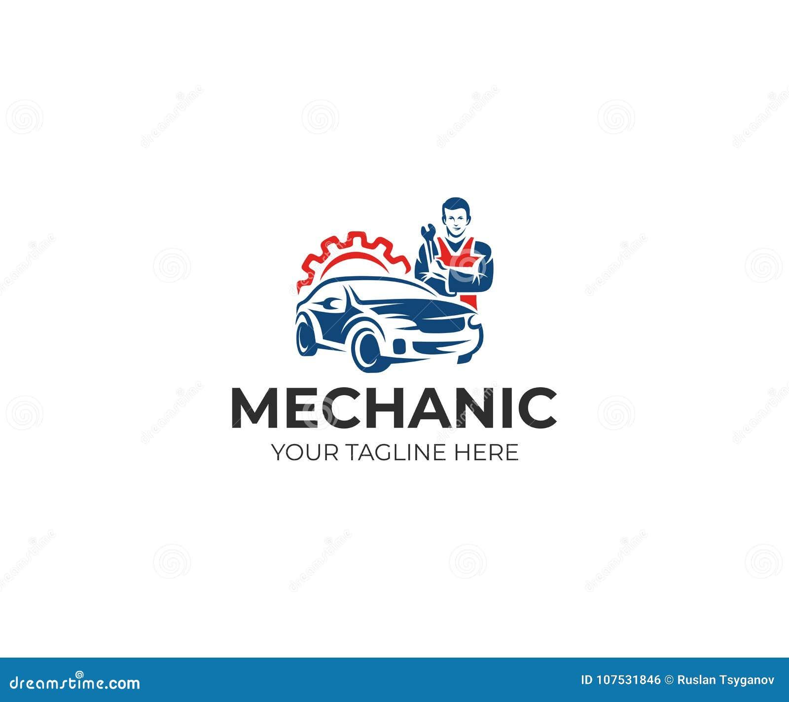 Plantilla Del Logotipo Del Mecánico De Automóviles Y Del Coche ...