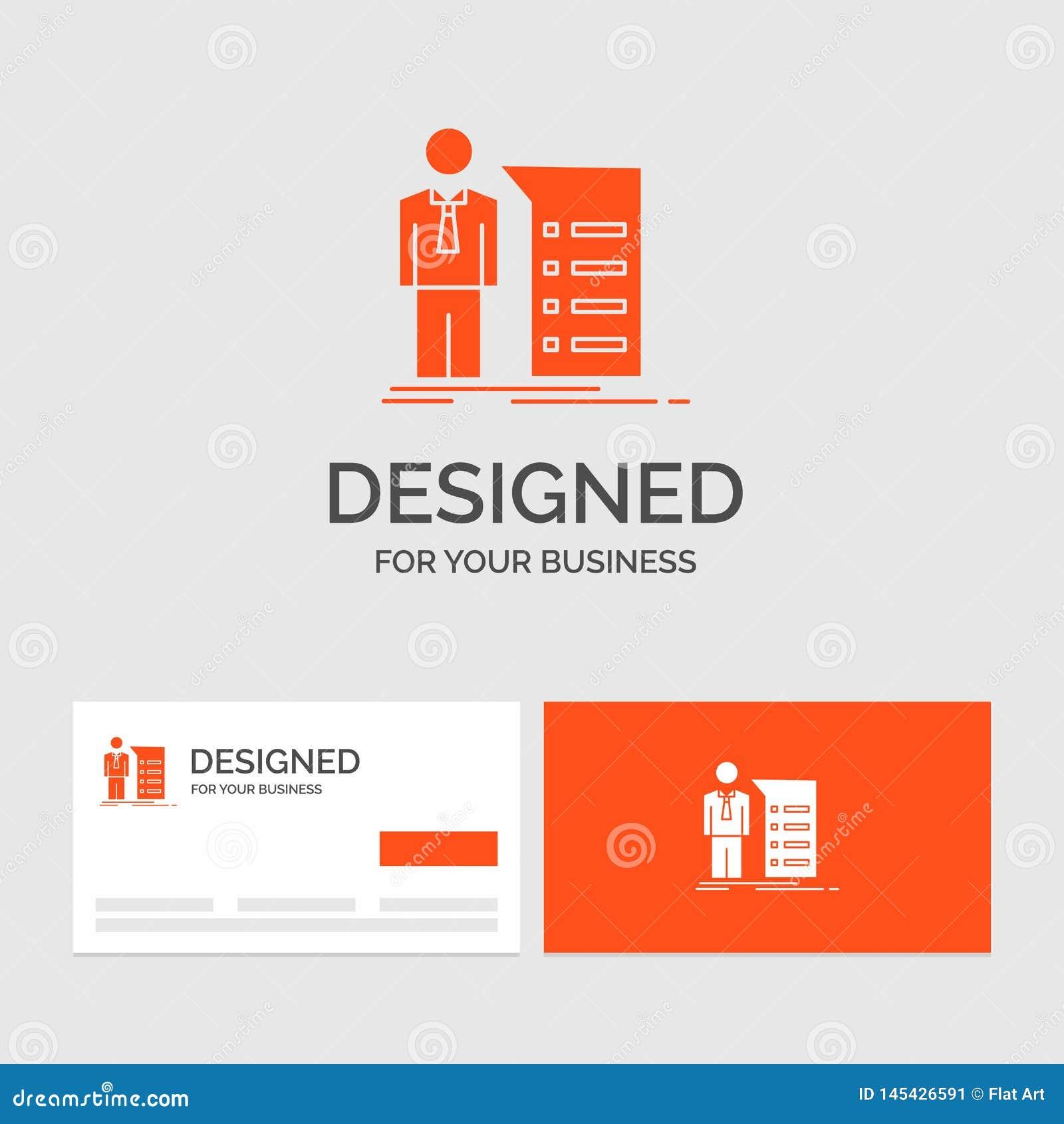 Plantilla del logotipo del negocio para el negocio, explicación, gráfico, reunión, presentación Tarjetas de visita anaranjadas co