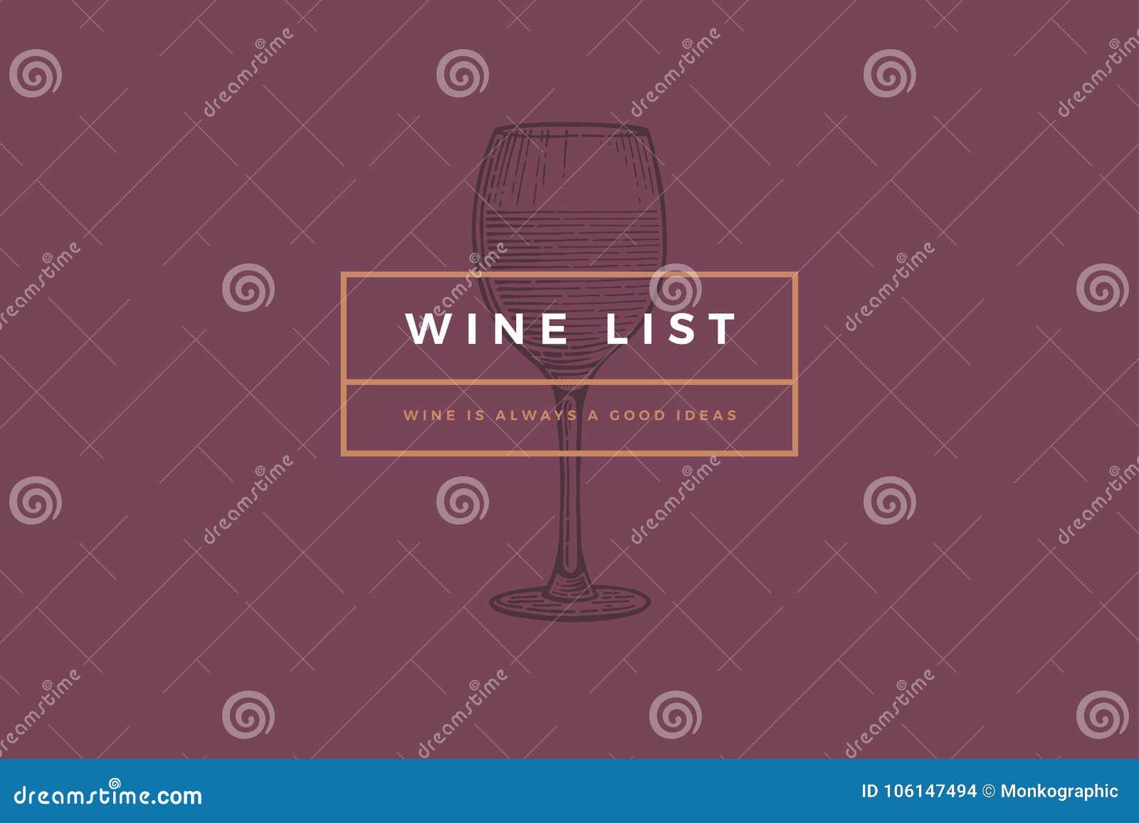 Plantilla del logotipo para la tarjeta, el prospecto, el menú, el restaurante o la barra del vino del diseño