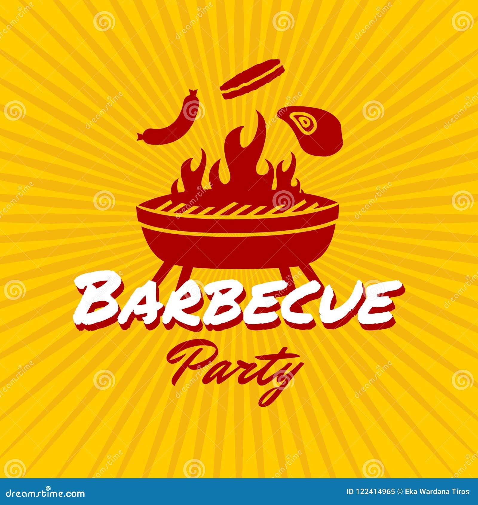 Plantilla del logotipo del partido de la barbacoa